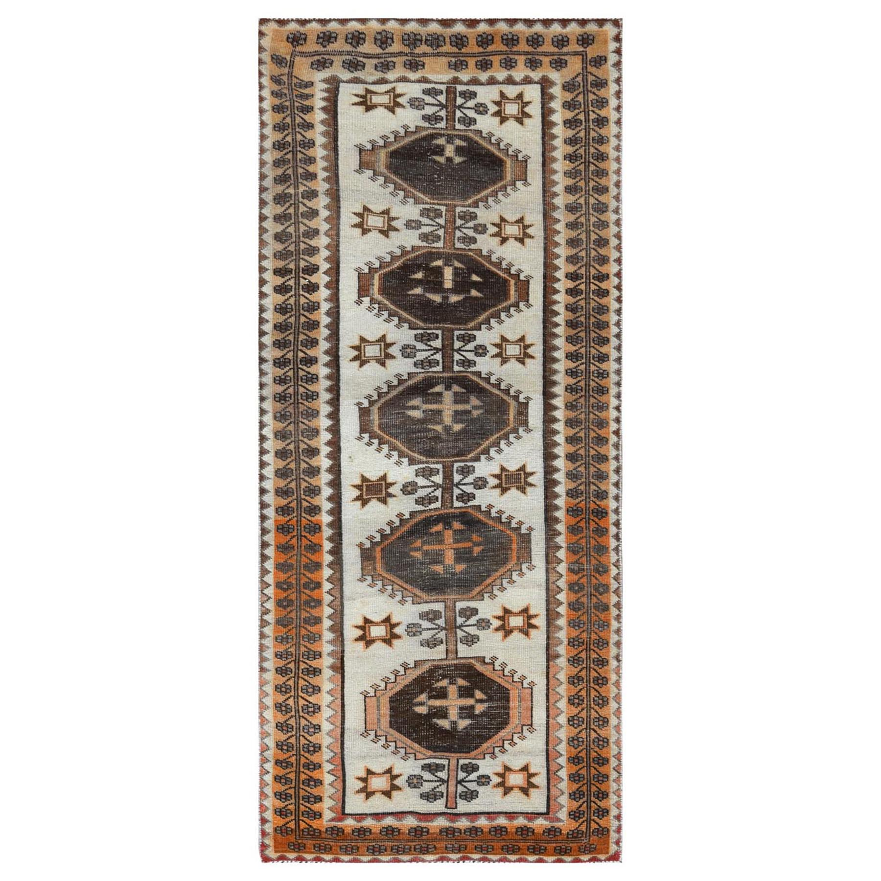 "3'3""x7'7"" Bohemian Semi Antique Persian Shiraz Ivory Sheared Low Organic Wool Clean Hand Woven Oriental Runner Rug"
