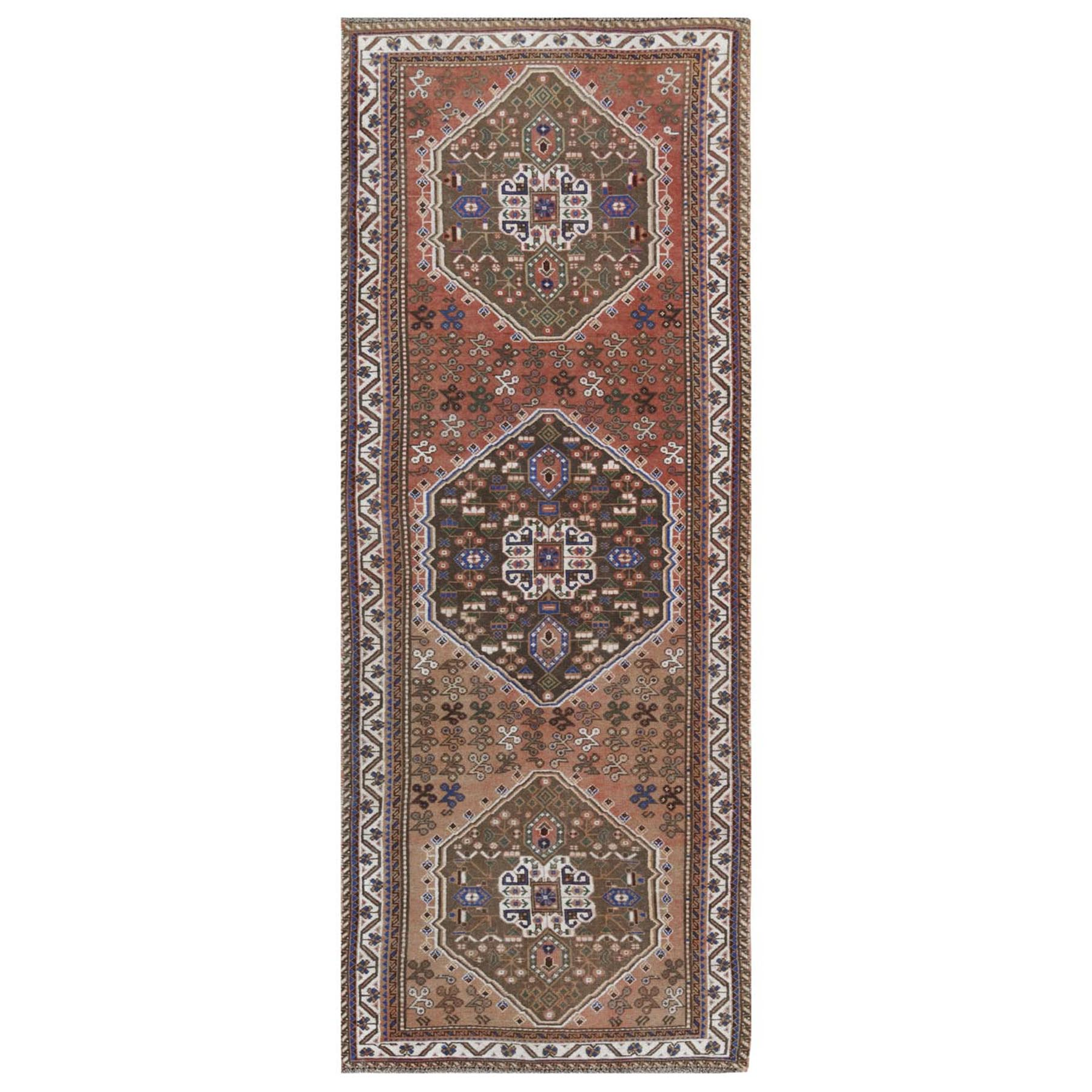 "3'5""x9'3"" Bohemian Rust Red Persian Qashqai Hand Woven Vintage Worn Down Organic Wool Clean Oriental Wide Runner Rug"