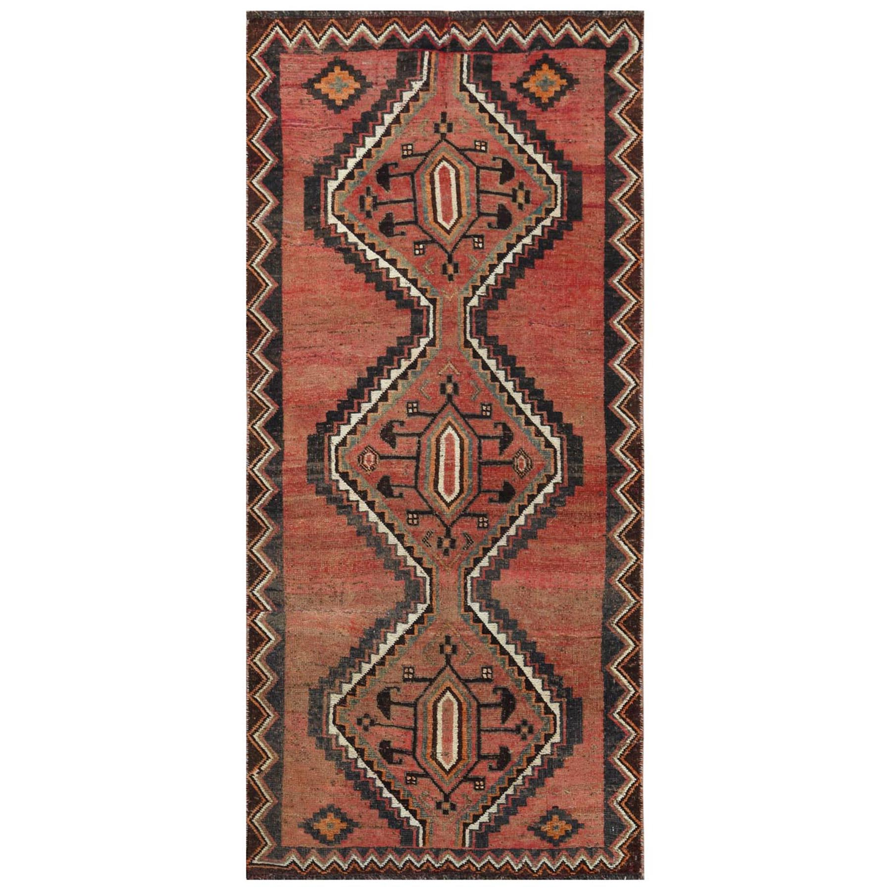 "3'2""x6'10"" Bohemian Red Persian Shiraz Cropped Thin Old Pure Wool Clean Hand Woven Oriental Rug"