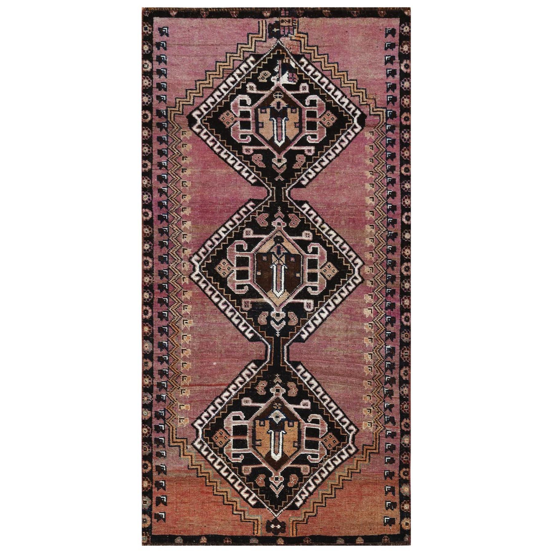 "3'1""x6'3"" Bohemian Hand Woven Pink Persian Qashqai Semi Antique Distressed Clean Natural Wool Oriental Rug"