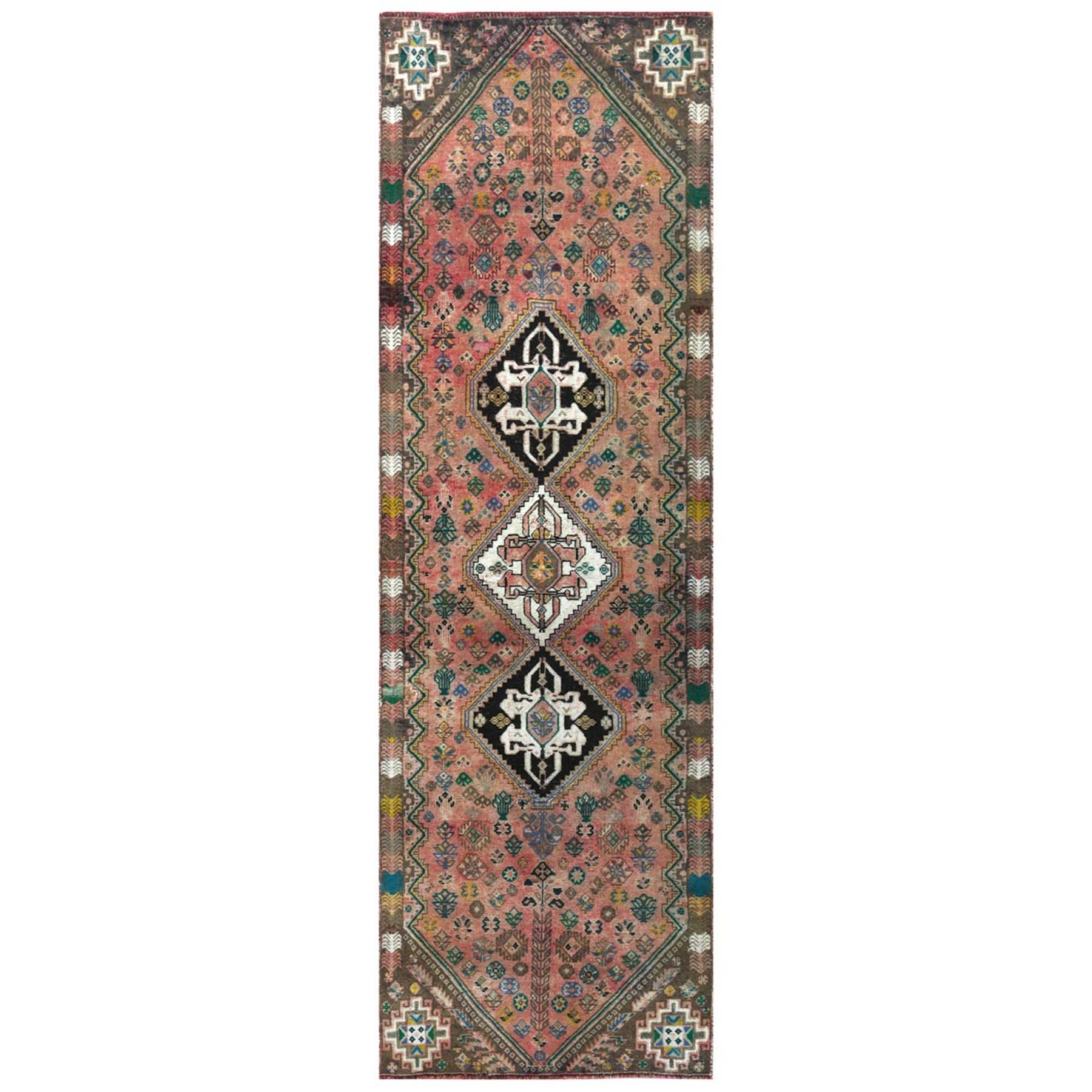 "2'9""x8'8"" Bohemian Coral Color Persian Shiraz Vintage Worn Down Hand Woven Organic Wool Clean Oriental Runner Rug"