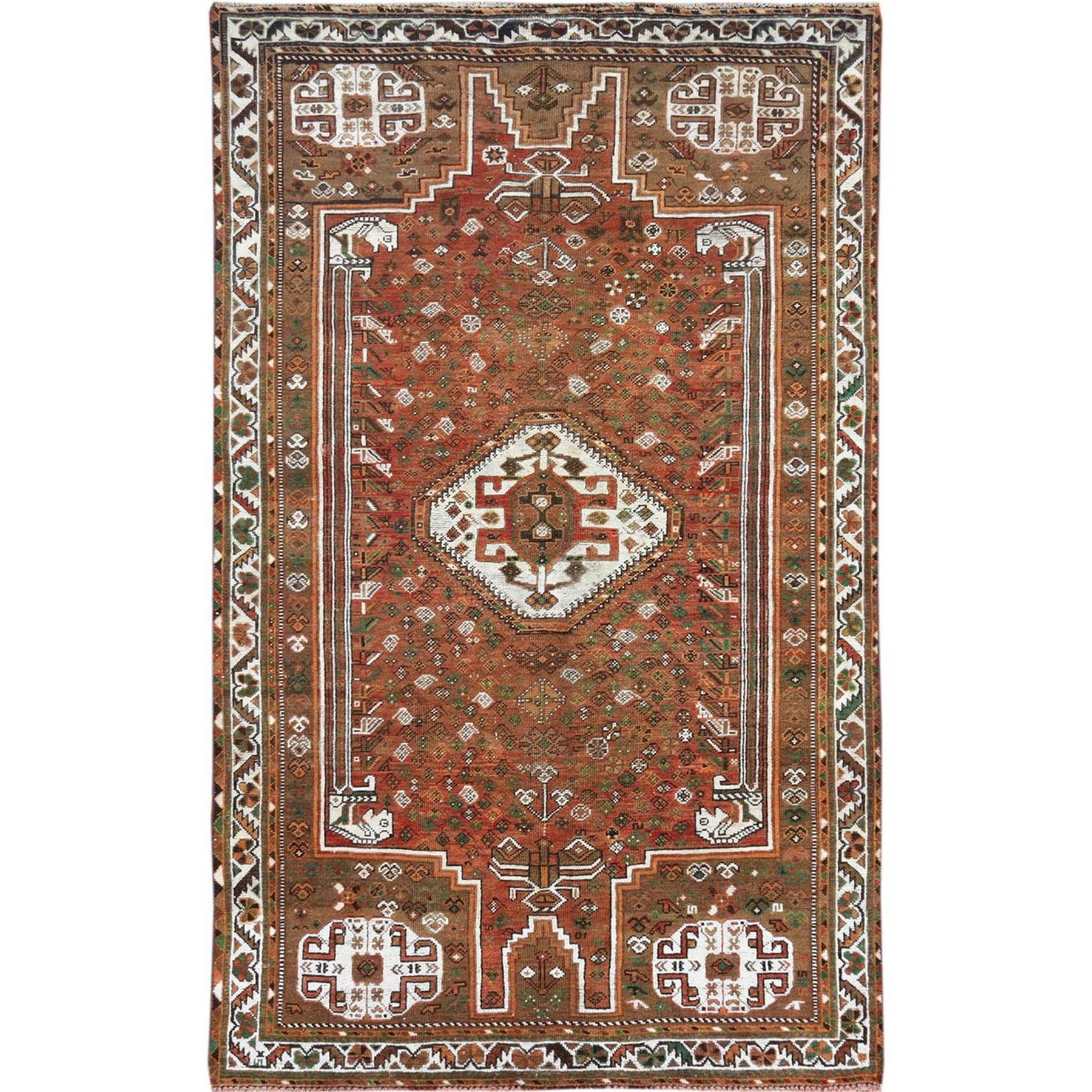 "5'2""x8'7"" Bohemian Semi Antique Rust Red Persian Shiraz Old Distressed Organic Wool Clean Hand Woven Oriental Rug"