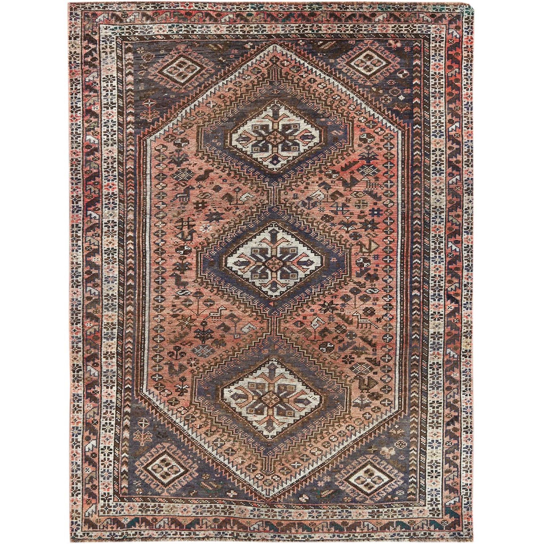 "5'2""x7'1"" Bohemian Vintage Worn Down Persian Qashqai Faded Rust Color Clean Hand Woven Natural Wool Oriental Rug"