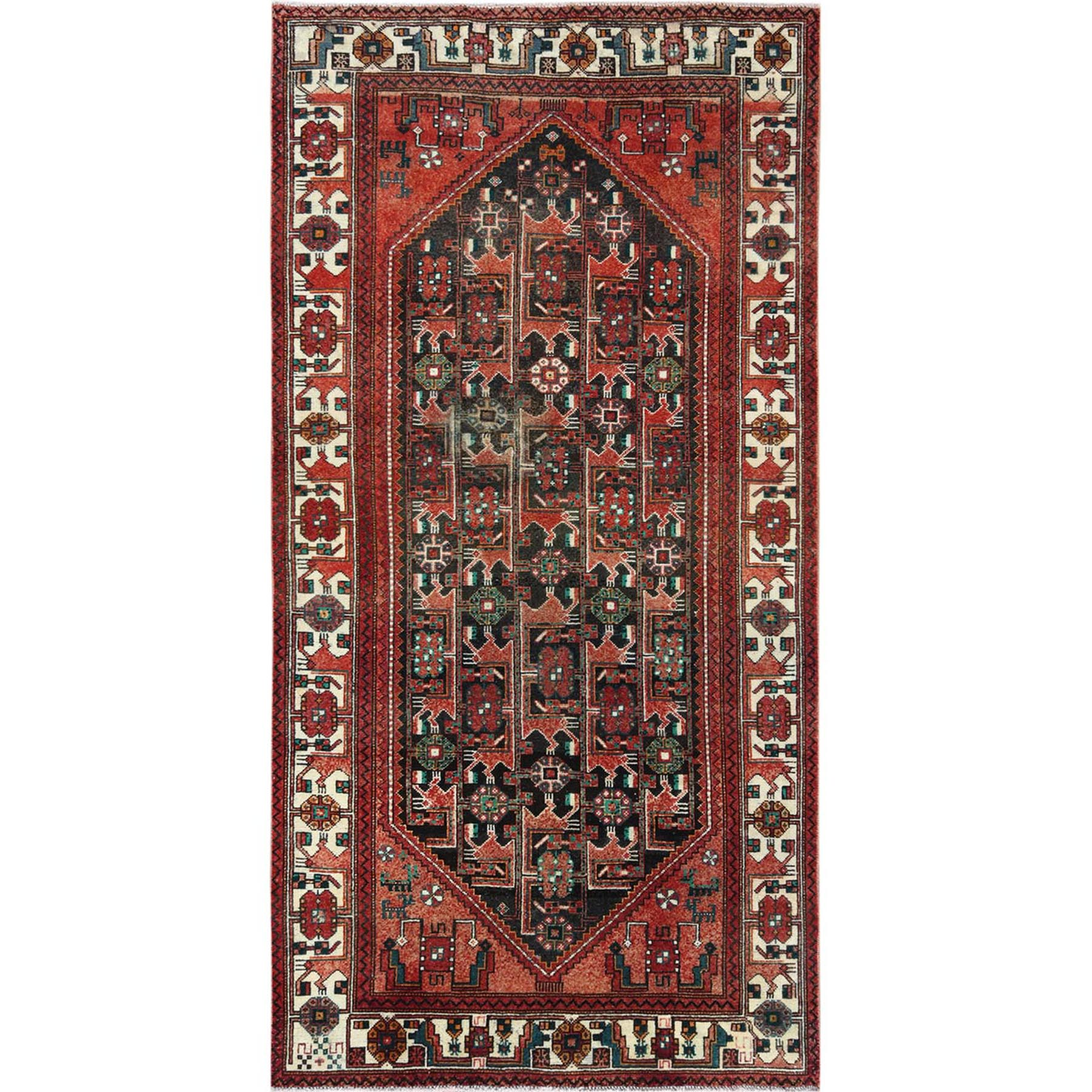 "5'x9'10"" Semi Antique Hand Woven Red Persian Hamadan Sheared Low Clean Organic Wool Shabby Chic Gallery Size Runner Oriental Rug"
