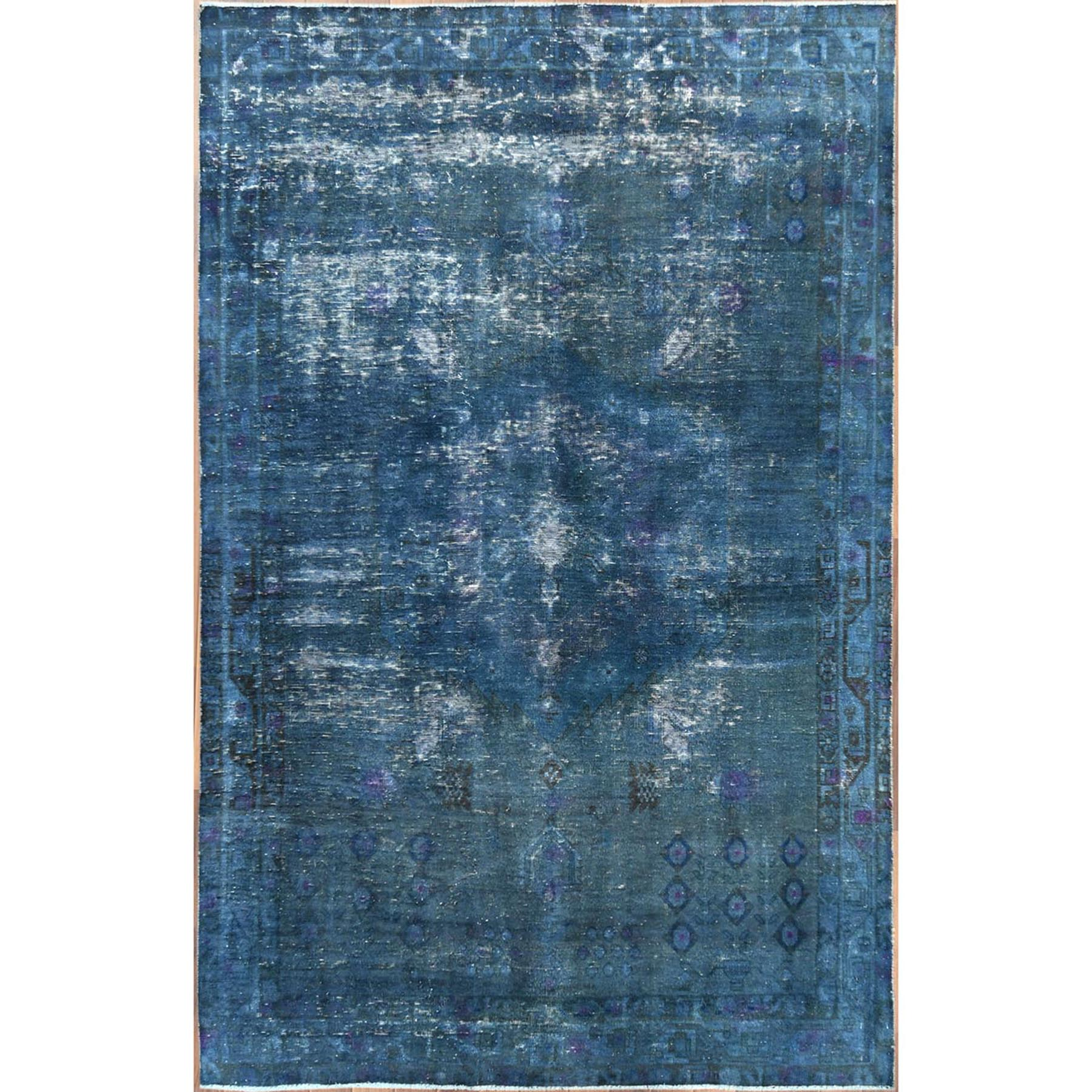 "5'x7'8"" Hand Woven Overcast Blue Persian Shiraz Old Cropped Thin Organic Wool Shabby Chic Clean Oriental Rug"