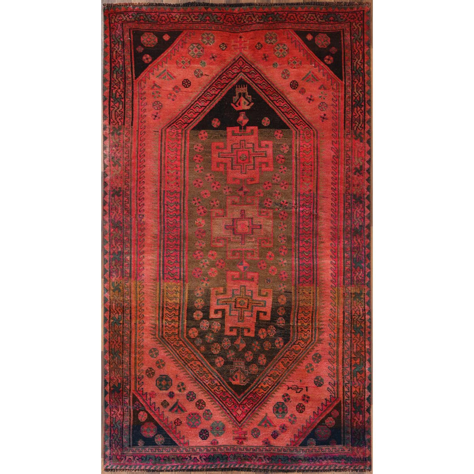 5'x9' Bohemian Persian Qashqai Gray Vintage Worn Down Hand Woven Organic Wool Clean Oriental Gallery Size Runner Rug