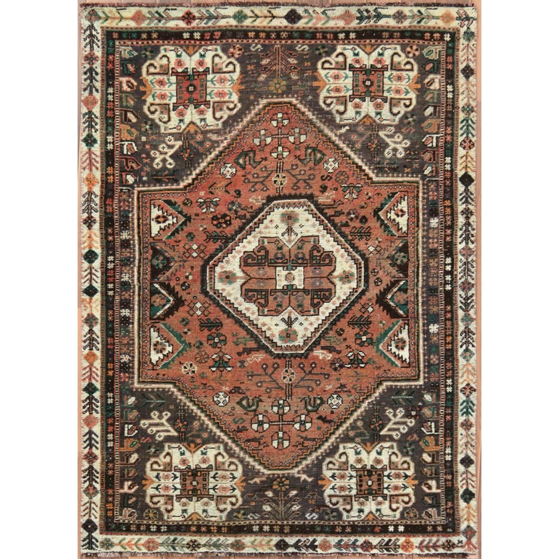 "3'4""x4'8"" Pure Wool Mocha Color Persian Shiraz Vintage Distressed Shabby Chic Clean Hand Woven Oriental Rug"