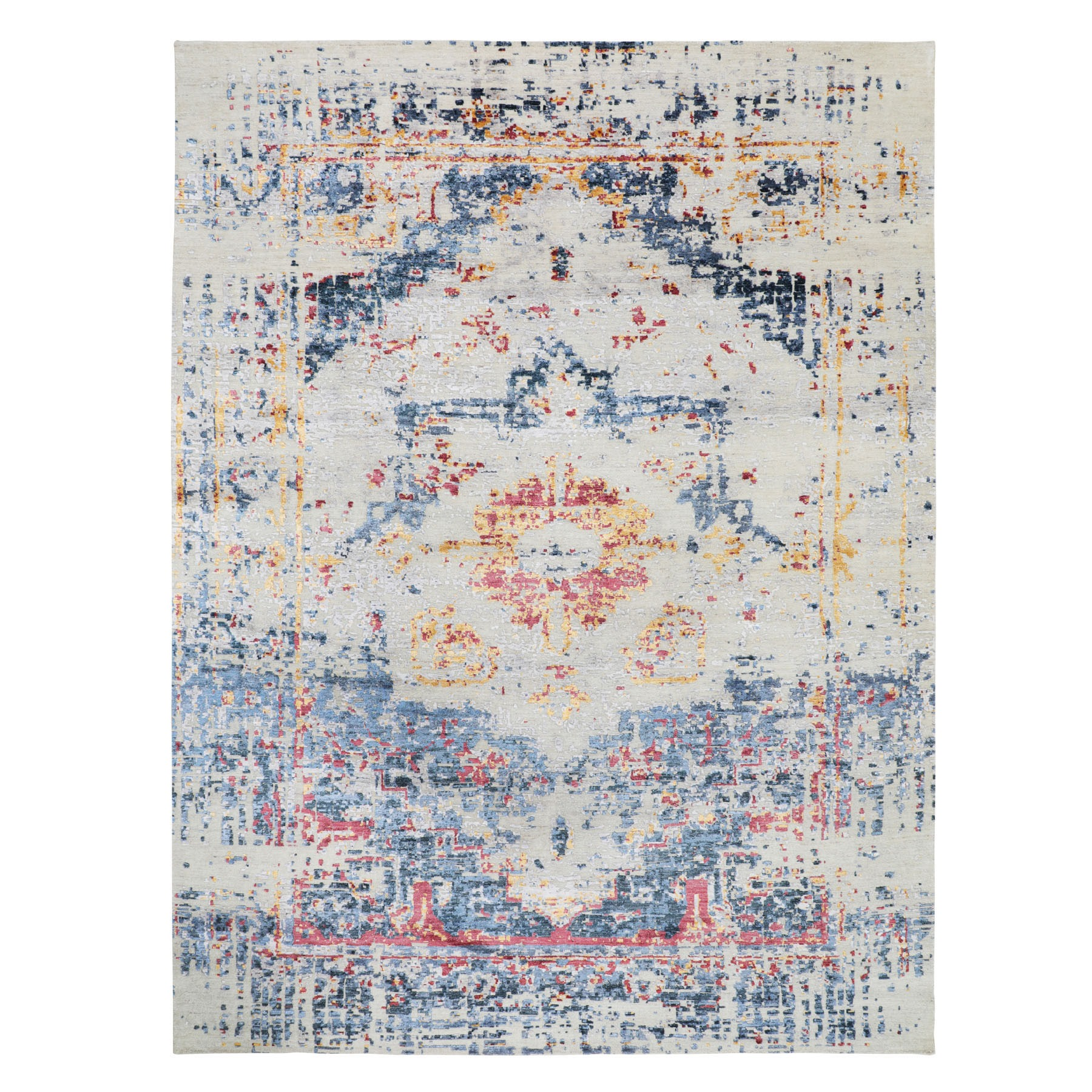 8'x10' Colorful Erased Heriz Design Silk with Textured Wool Hand Woven Oriental Rug