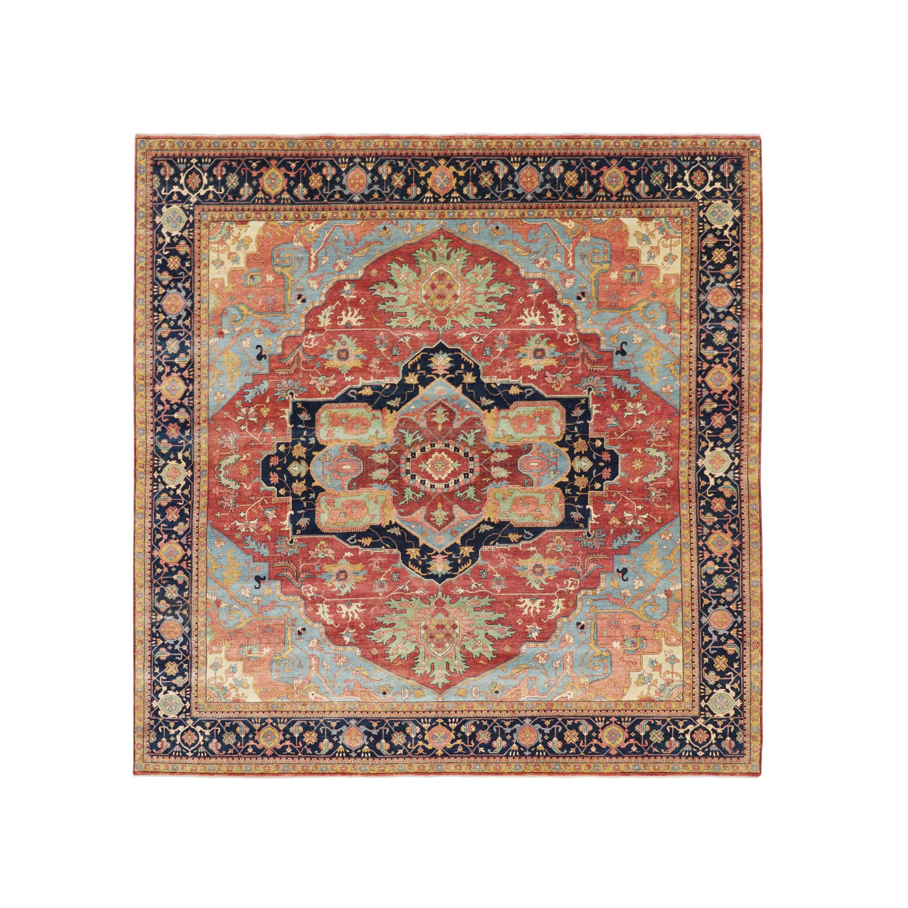 "12'1""x12'1"" Square Antiqued Heriz Re-creation Pure Wool Hand Woven Oriental Rug"
