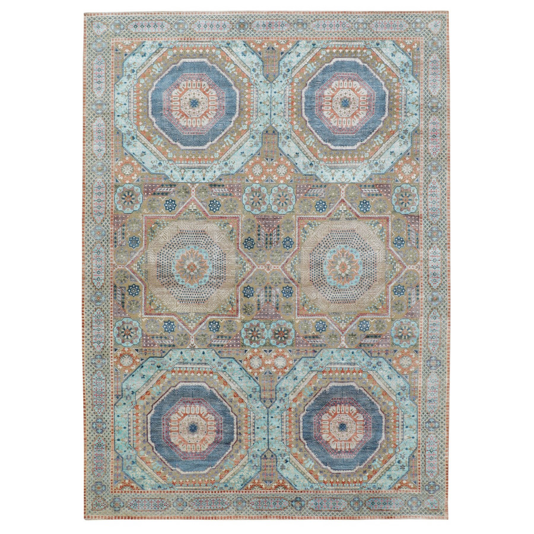 "8'8""x12' Silk With Textured Wool Mamluk Design Hand knotted Oriental Rug"