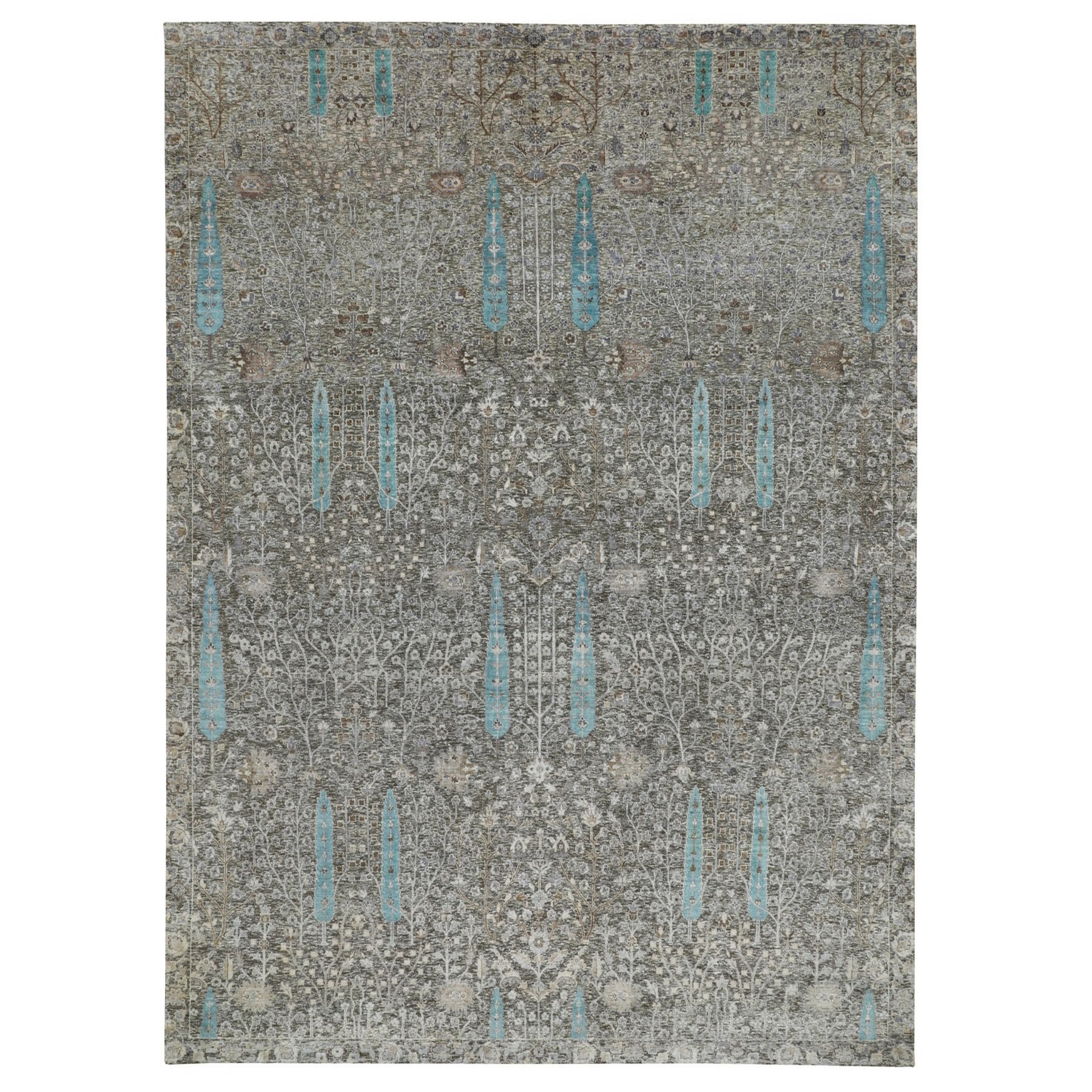 "10'x14'1"" Cypress Tree Design Silk with Textured Wool Hand Woven Oriental Rug"
