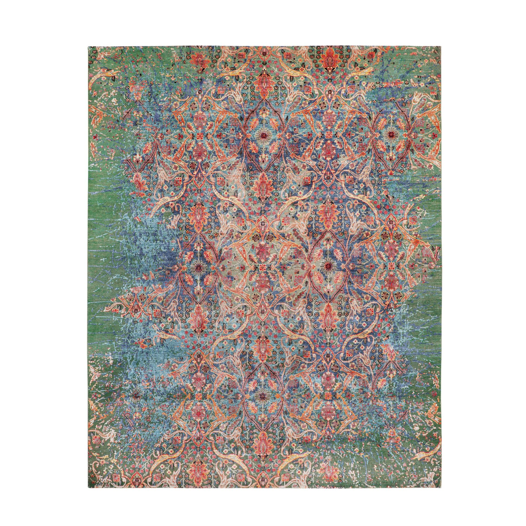 "7'9""x10' Colorful Silk With Green Transitional Broken Mughal Design Oriental Rug"