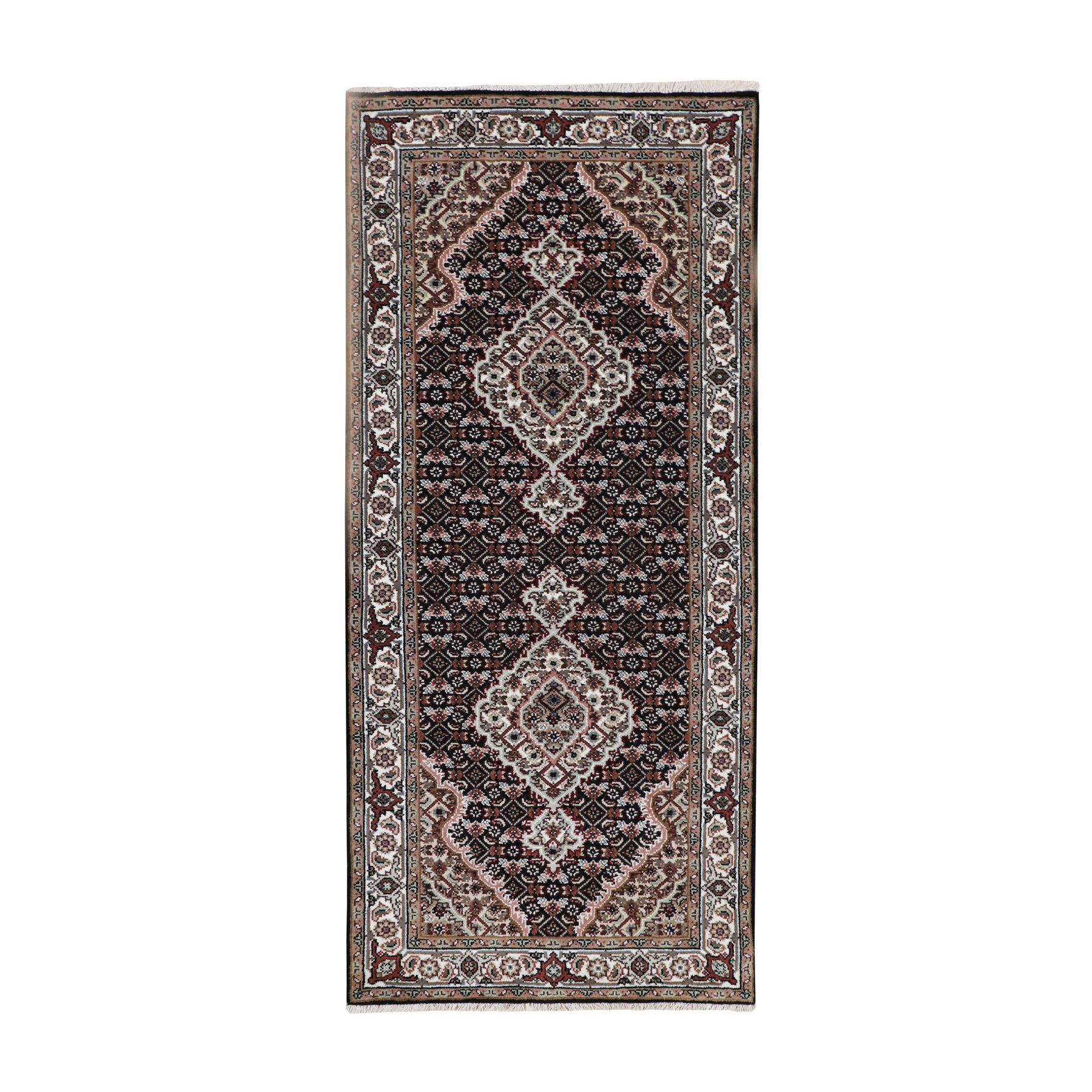"2'8""x6'2"" Black Tabriz Mahi Fish Design Wool And Silk Runner Hand Woven Oriental Rug"