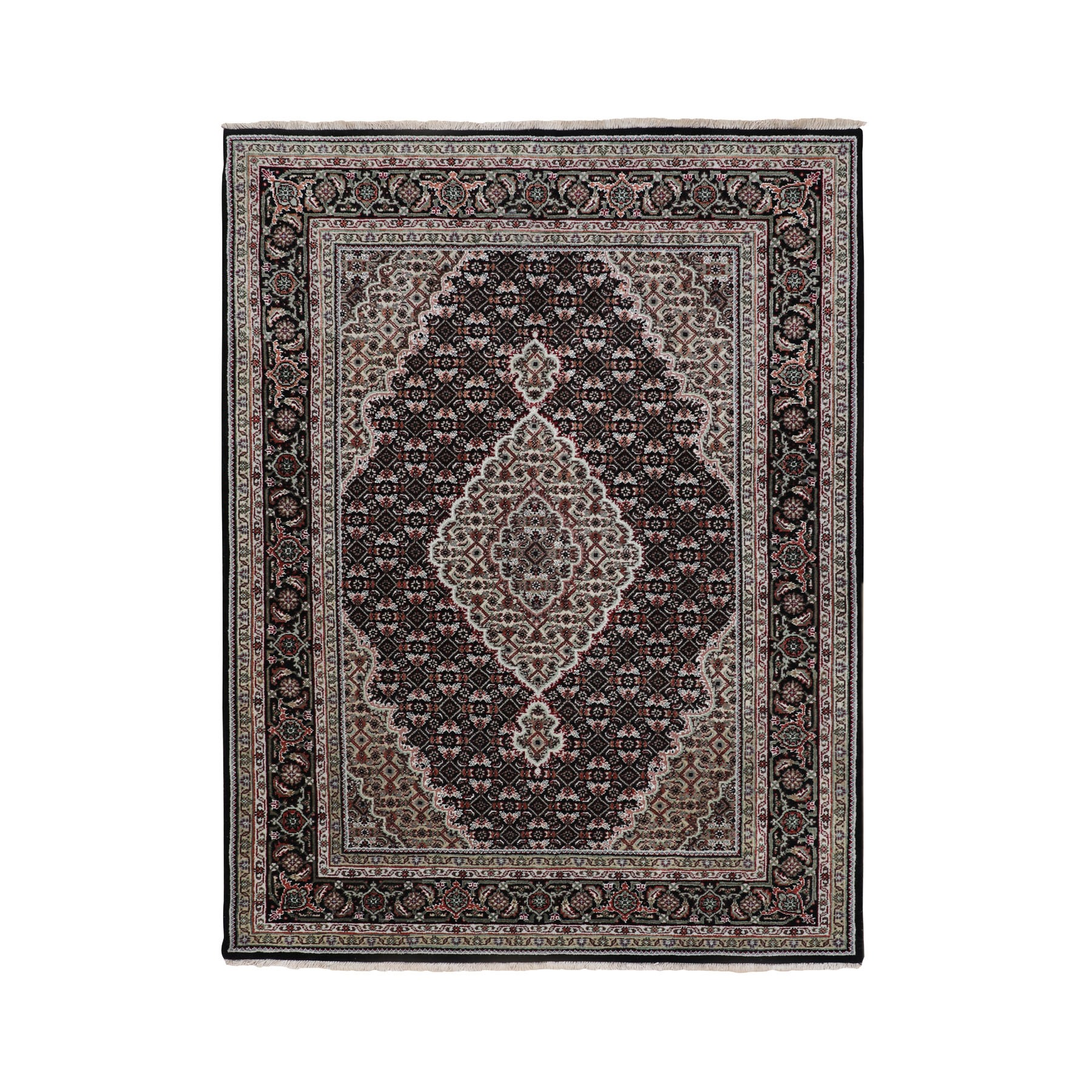 "4'10""x6'10"" Black Tabriz Mahi Fish Design Wool And Silk Hand Woven Oriental Rug"