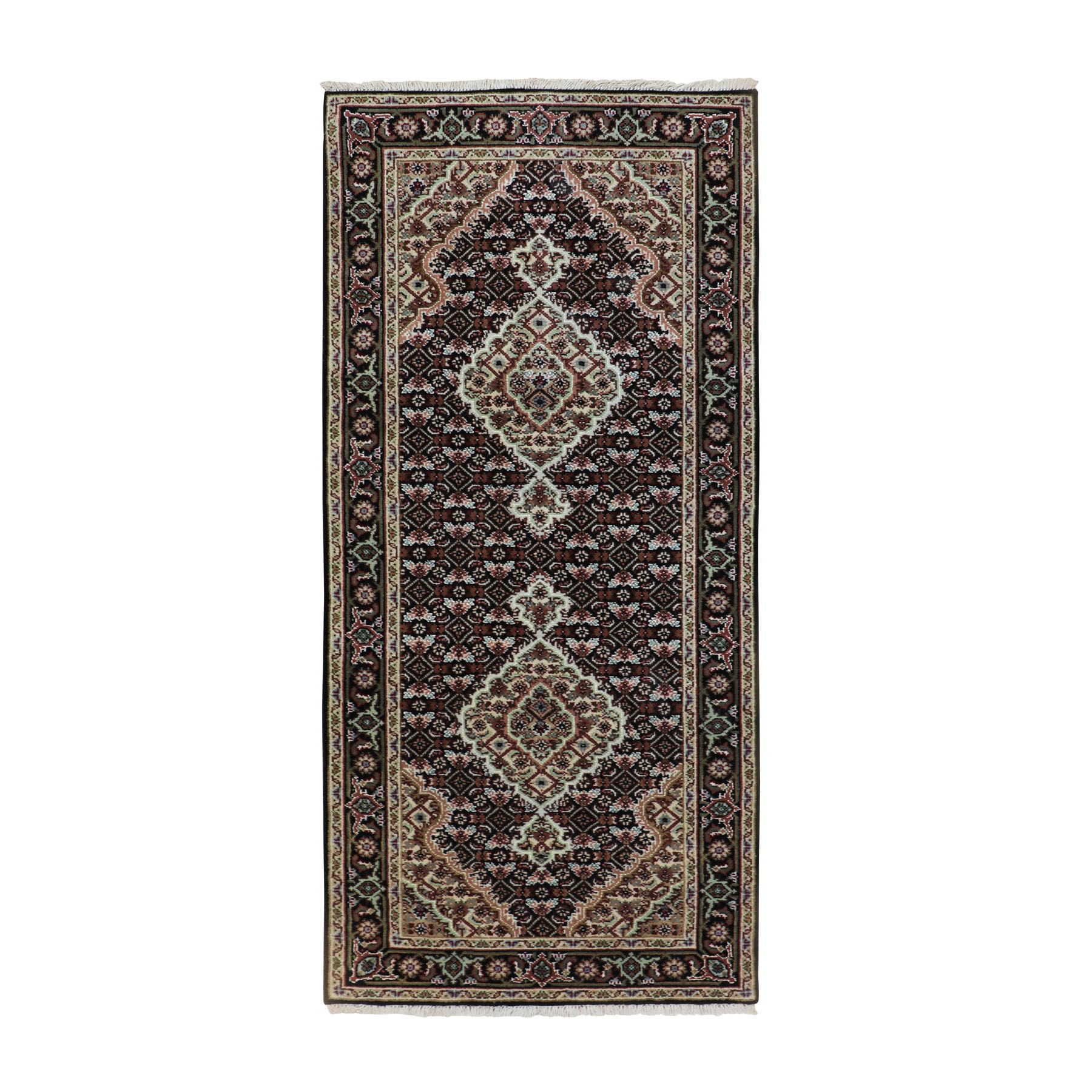 "2'8""x6'1"" Black Tabriz Mahi Fish Design Wool And Silk Runner Hand Woven Oriental Rug"