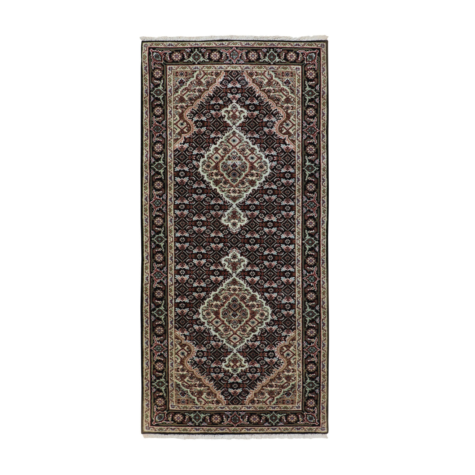 "2'7""x6' Black Mahi Fish Design Wool And Silk Hand Woven Runner Oriental Rug"