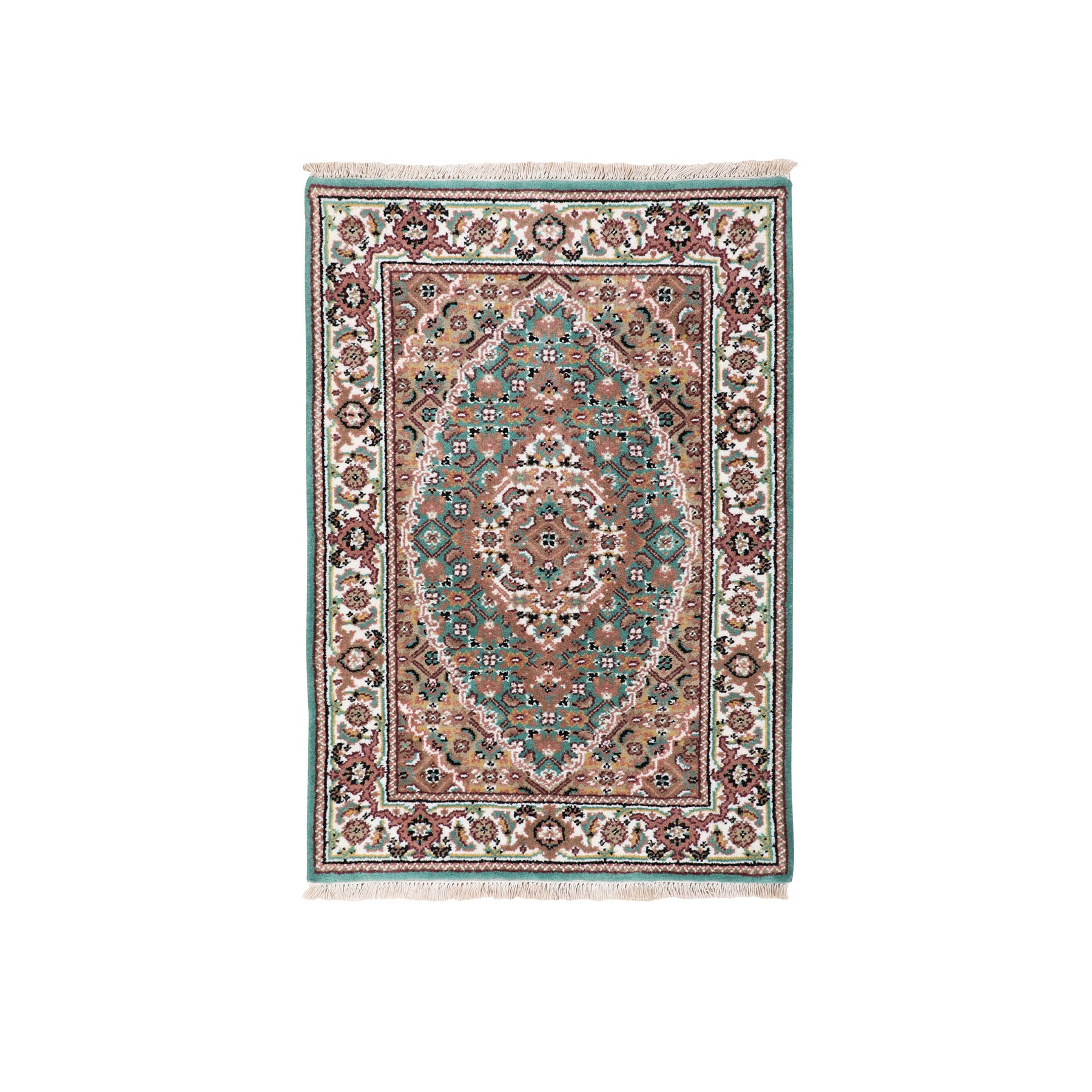 "2'1""x3' Green Tabriz Mahi Fish Design Wool And Silk Hand Woven Oriental Rug"