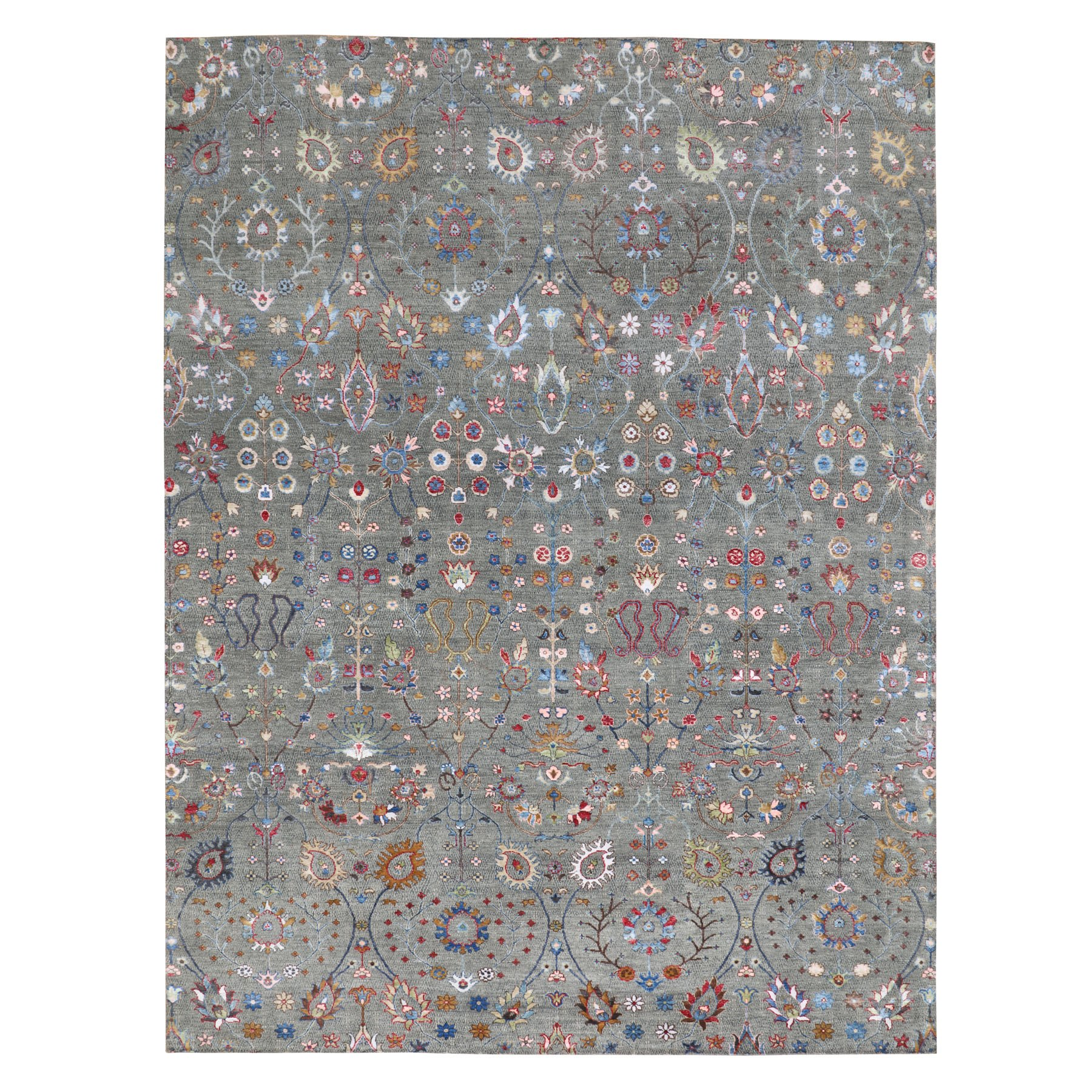 9'x12' Colorful Wool And Silk All Over Design Hand Woven Oriental Rug