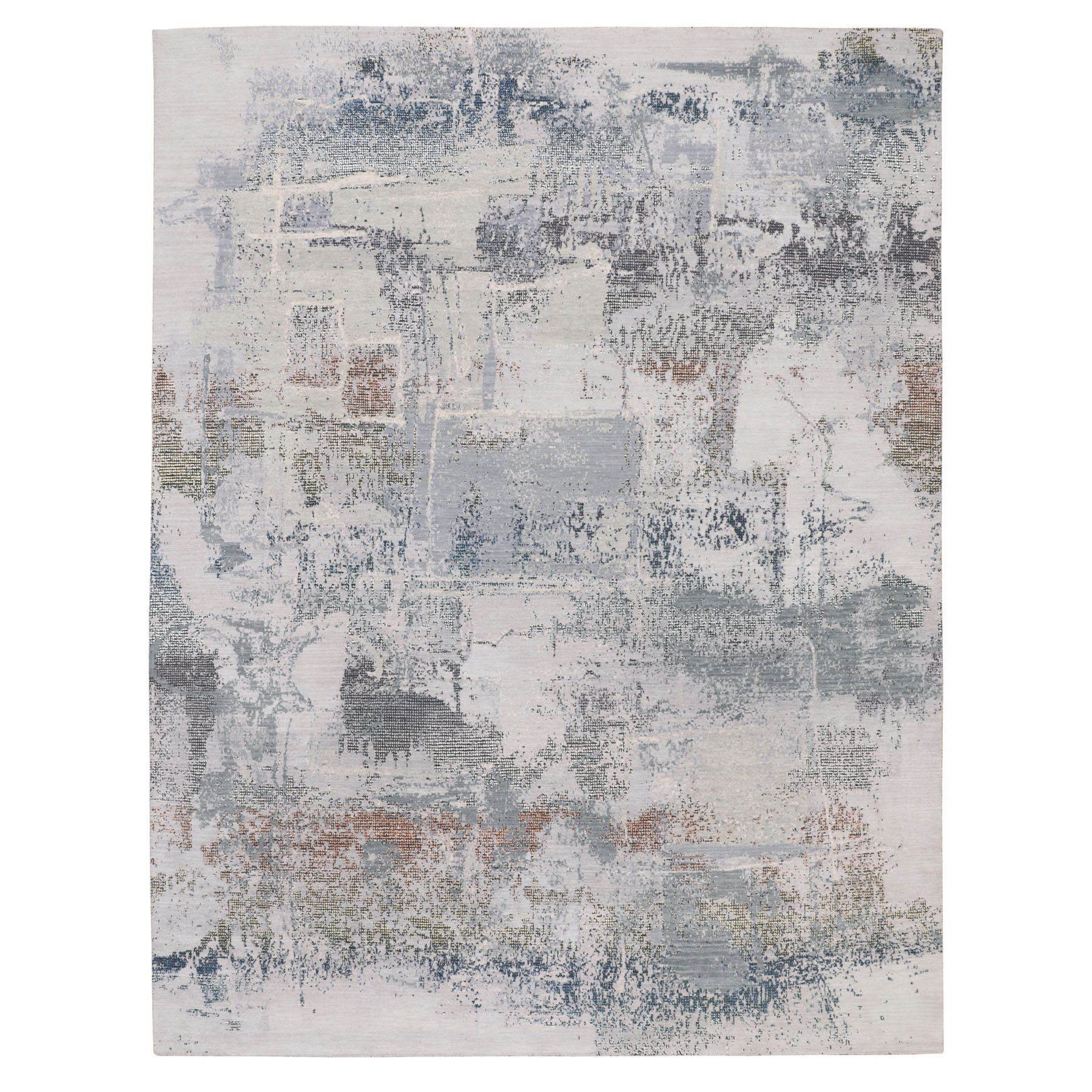 "9'1""x12' Wool And Silk Abstract With Disintegrated Pattern Hand Woven Oriental Rug"