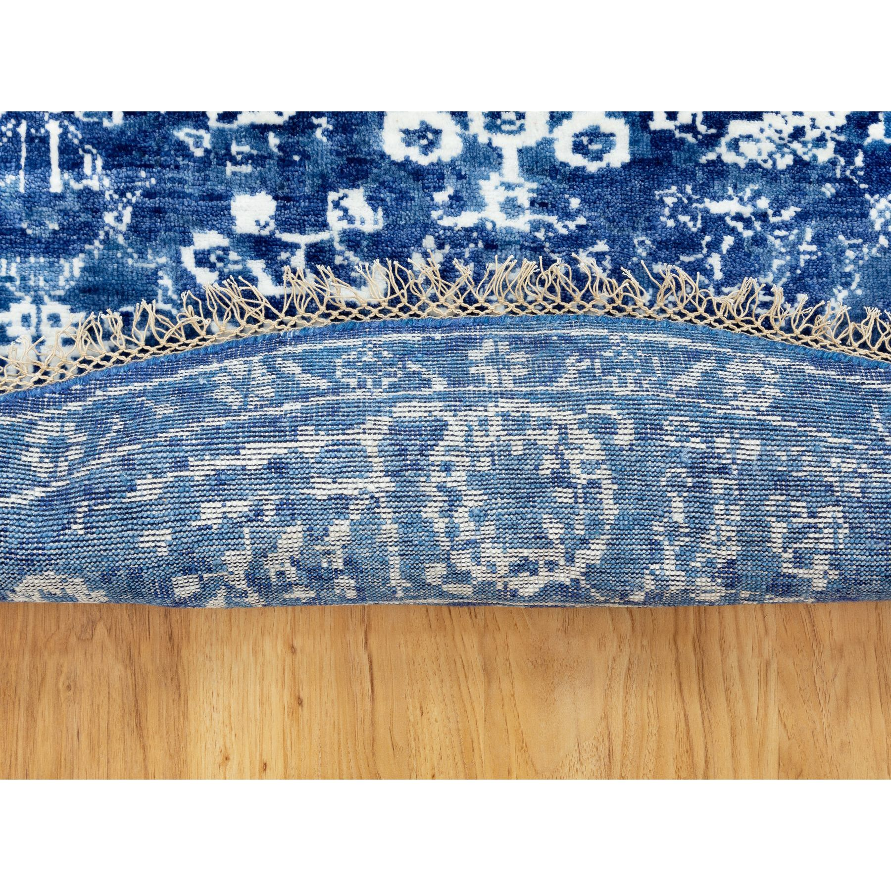 "6'2""x6'2"" Blue Tone On Tone Tabriz Wool and Silk Round Hand Woven Oriental Rug"