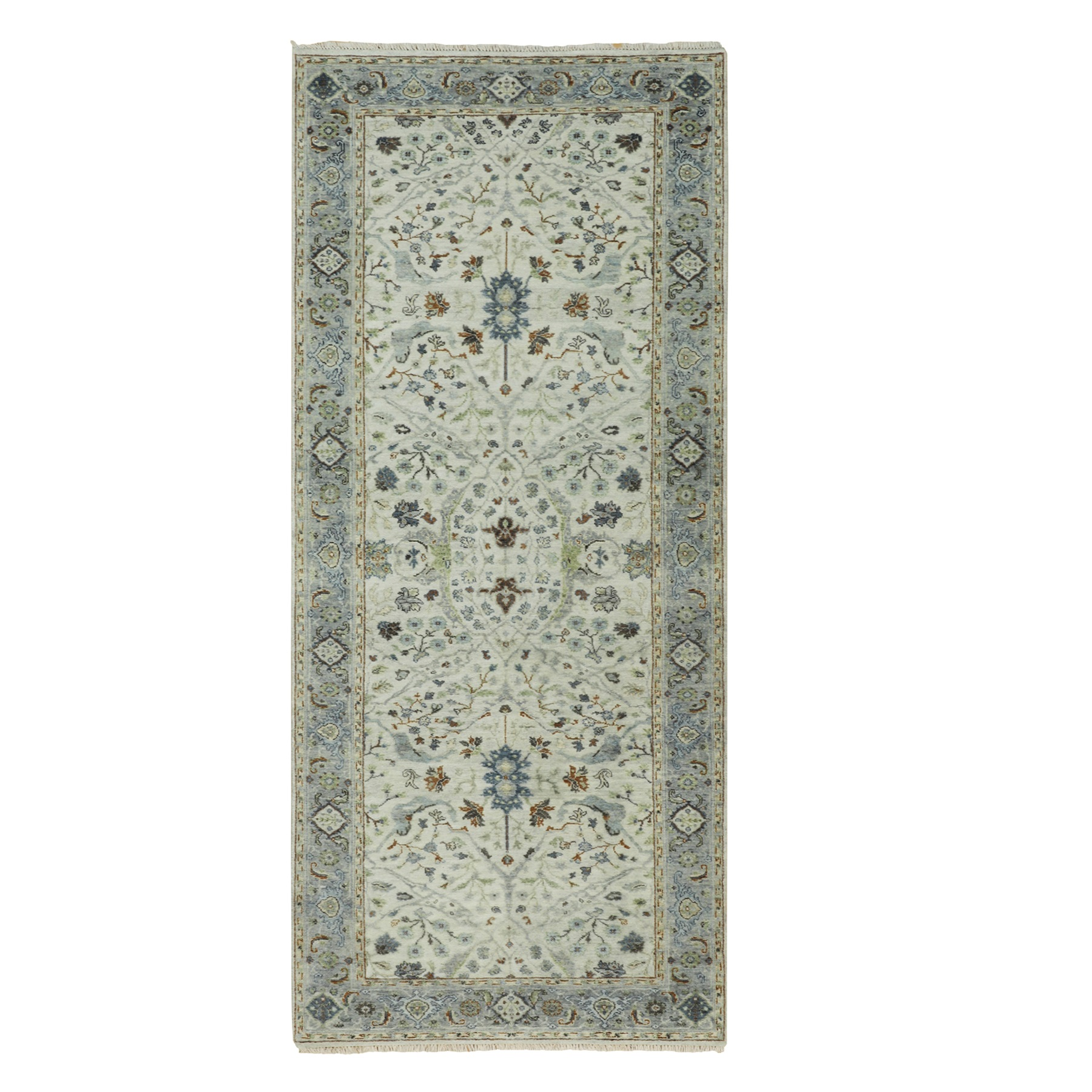 "4'x9'10"" Gray Denser Weave Oushak With Floral Motifs Hand Woven Pure Wool Oriental Wide Runner Rug"
