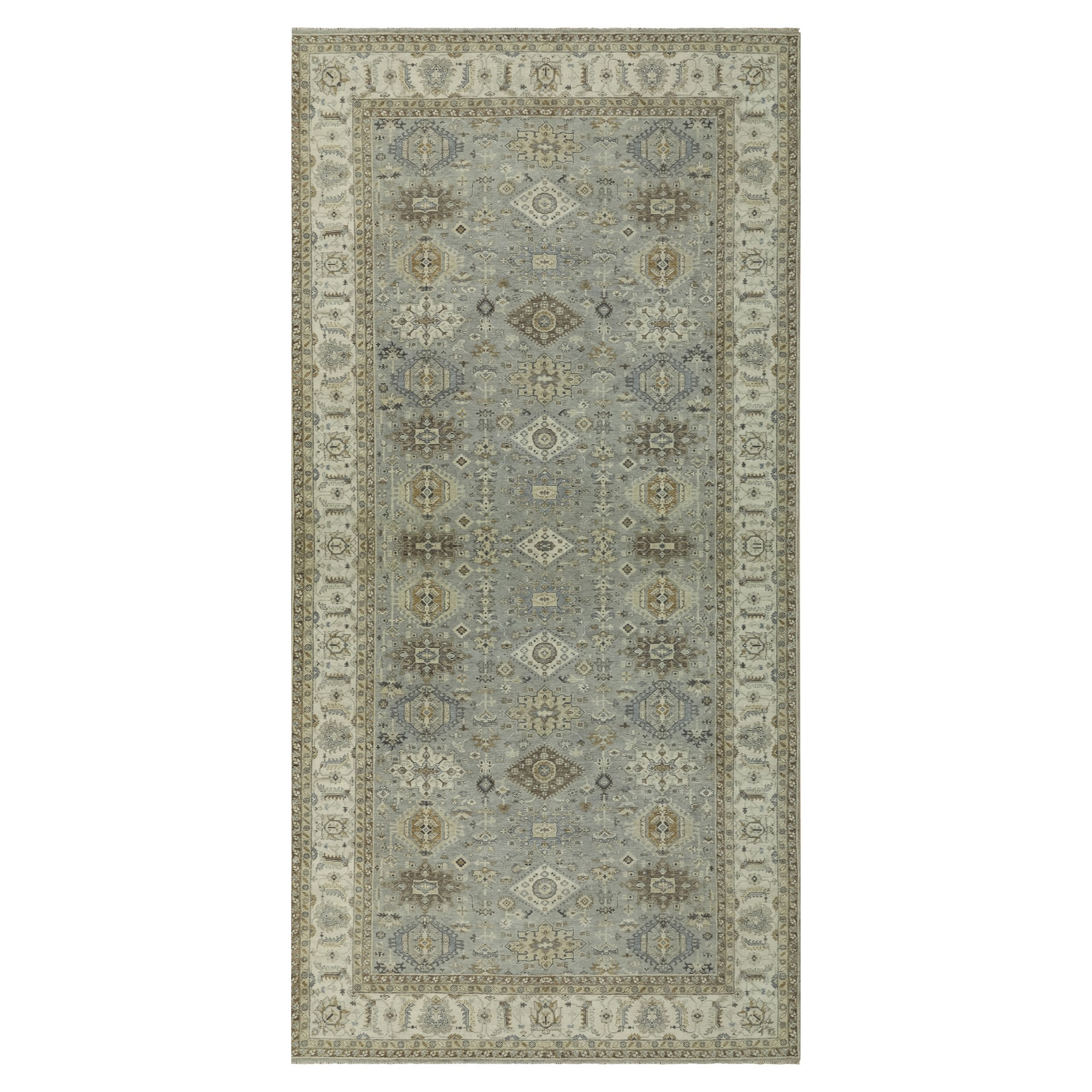 "8'x15'10"" Gray Karajeh Design Pure Wool Hand Woven Oriental Gallery Size Rug"