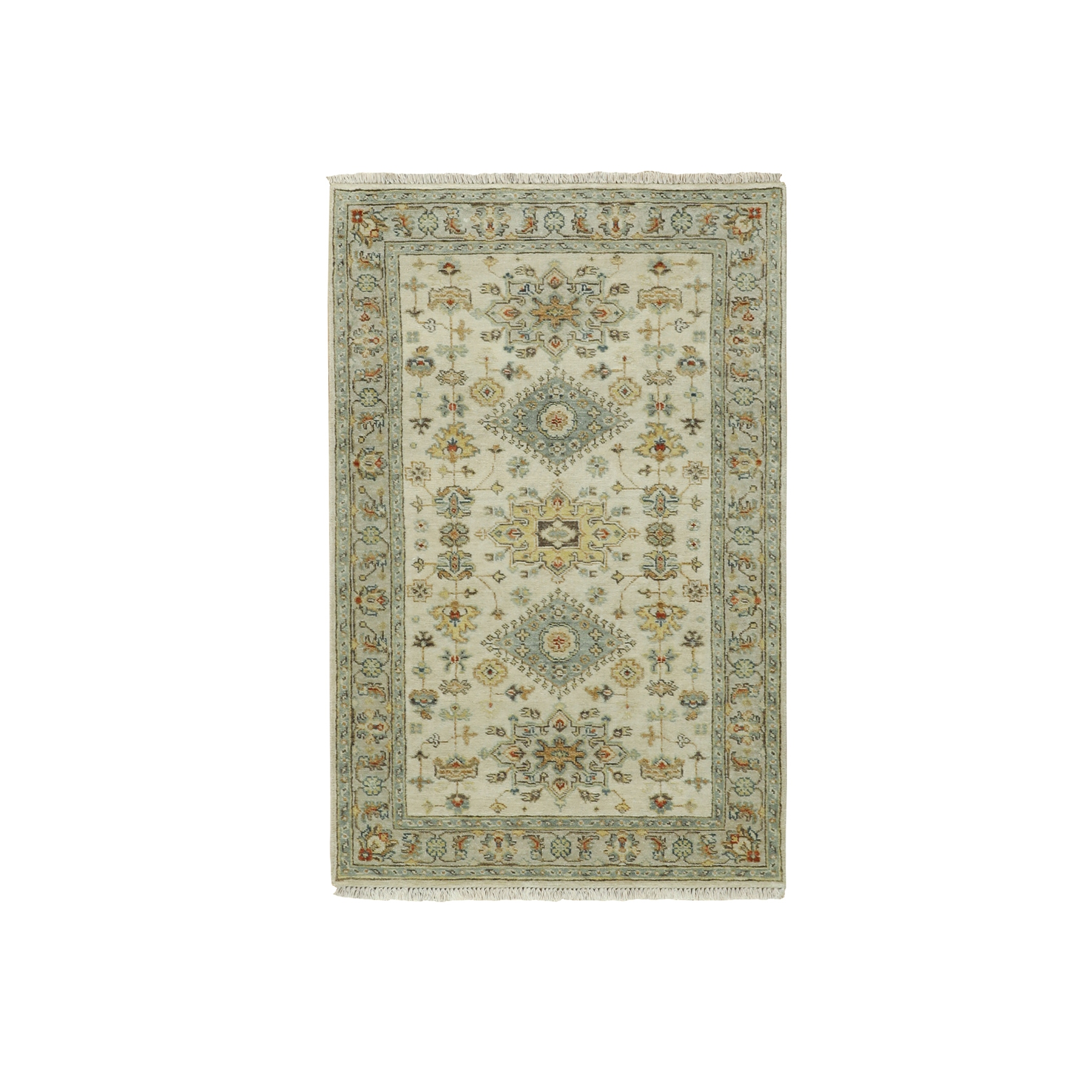 3'x5' Pure Wool Ivory Karajeh Design With Motifs Hand Woven Oriental Rug