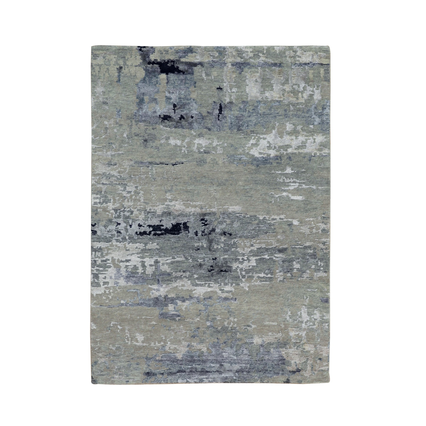 4'x6' Silver, Blue Wool And Silk Modern Abstract Design Hand Woven Oriental Rug