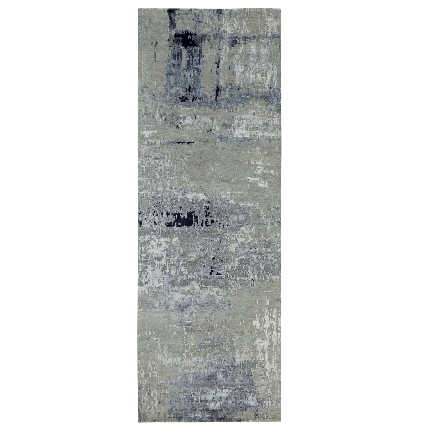 4'x10' Wool And Silk Silver, Blue Modern Abstract Design Hand Woven Oriental Runner Rug