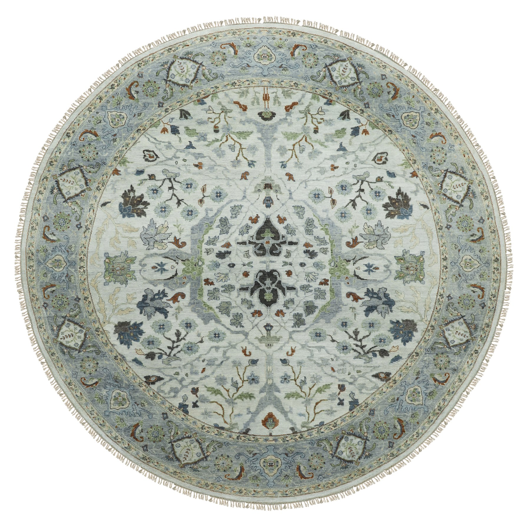 "9'10""x10' Gray Denser Weave Oushak Large Motifs Hand Woven Pure Wool Oriental Round Rug"
