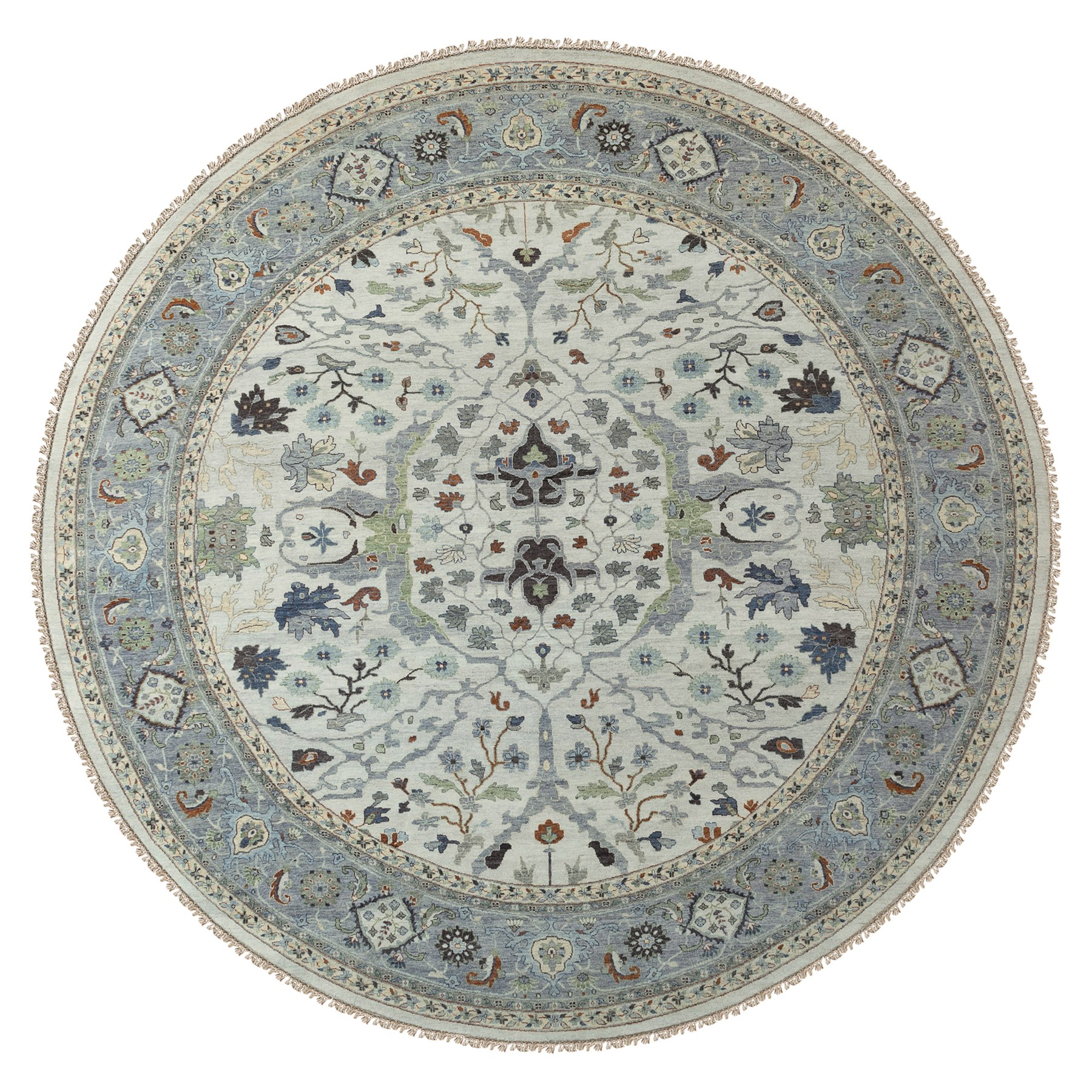 12'x12' Oversize Gray Denser Weave Oushak Large Motifs Hand Woven Pure Wool Oriental Round Rug
