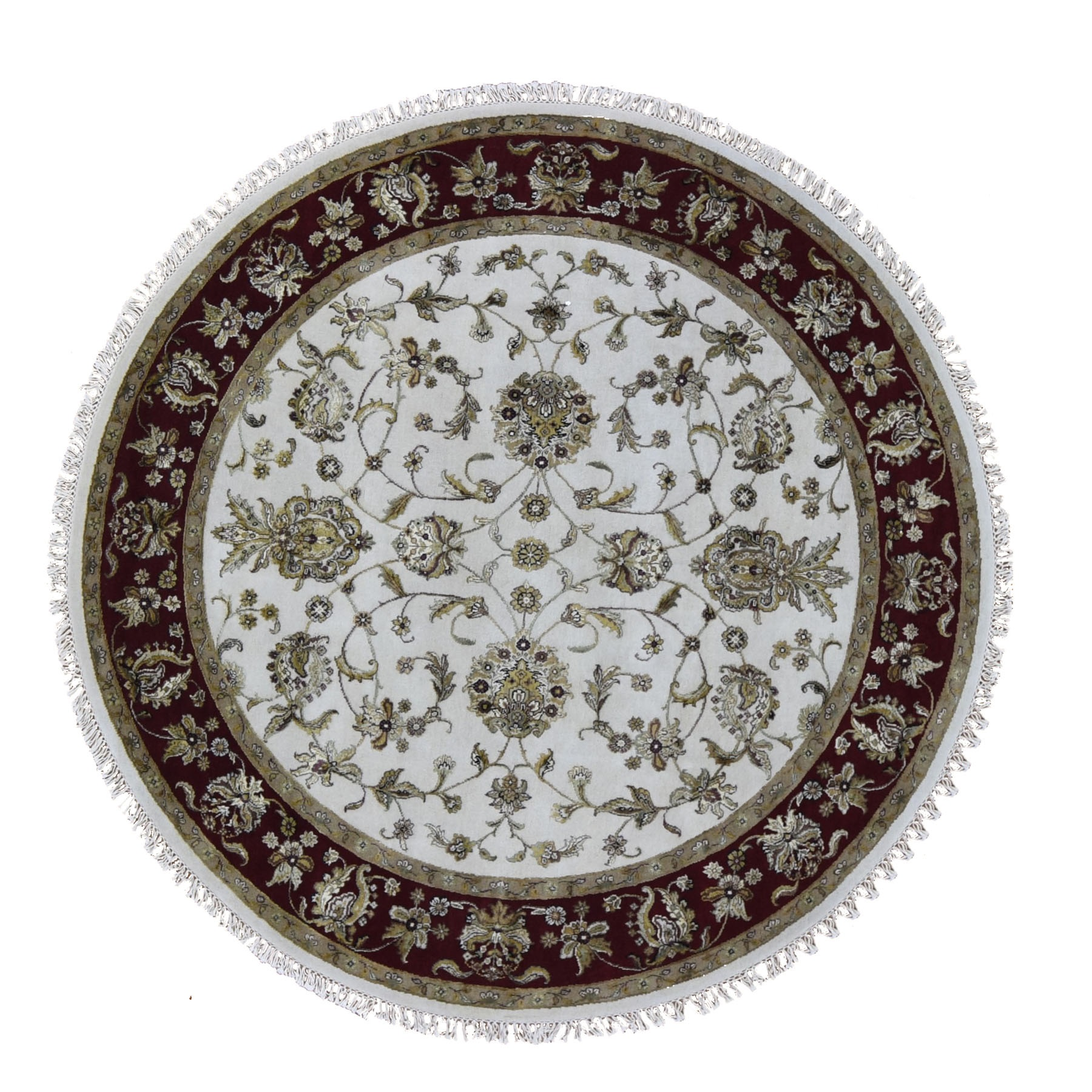 "7'2""x7'2"" Round Hand Woven Half Wool And Half Silk Rajasthan Thick And Plush Oriental Rug"
