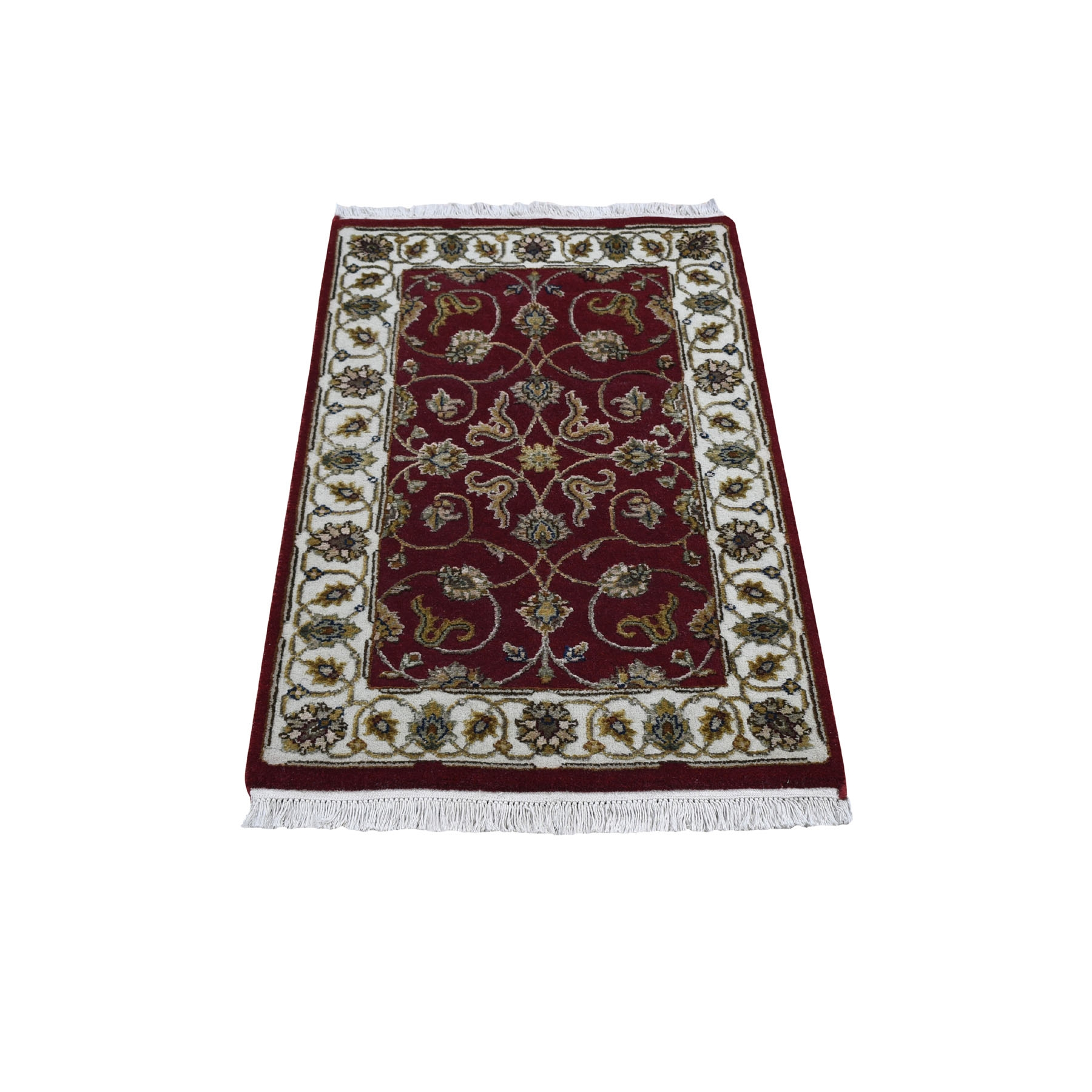 "2'x3'3"" Hand Woven Half Wool And Half Silk Rajasthan Hand Woven Oriental Rug"
