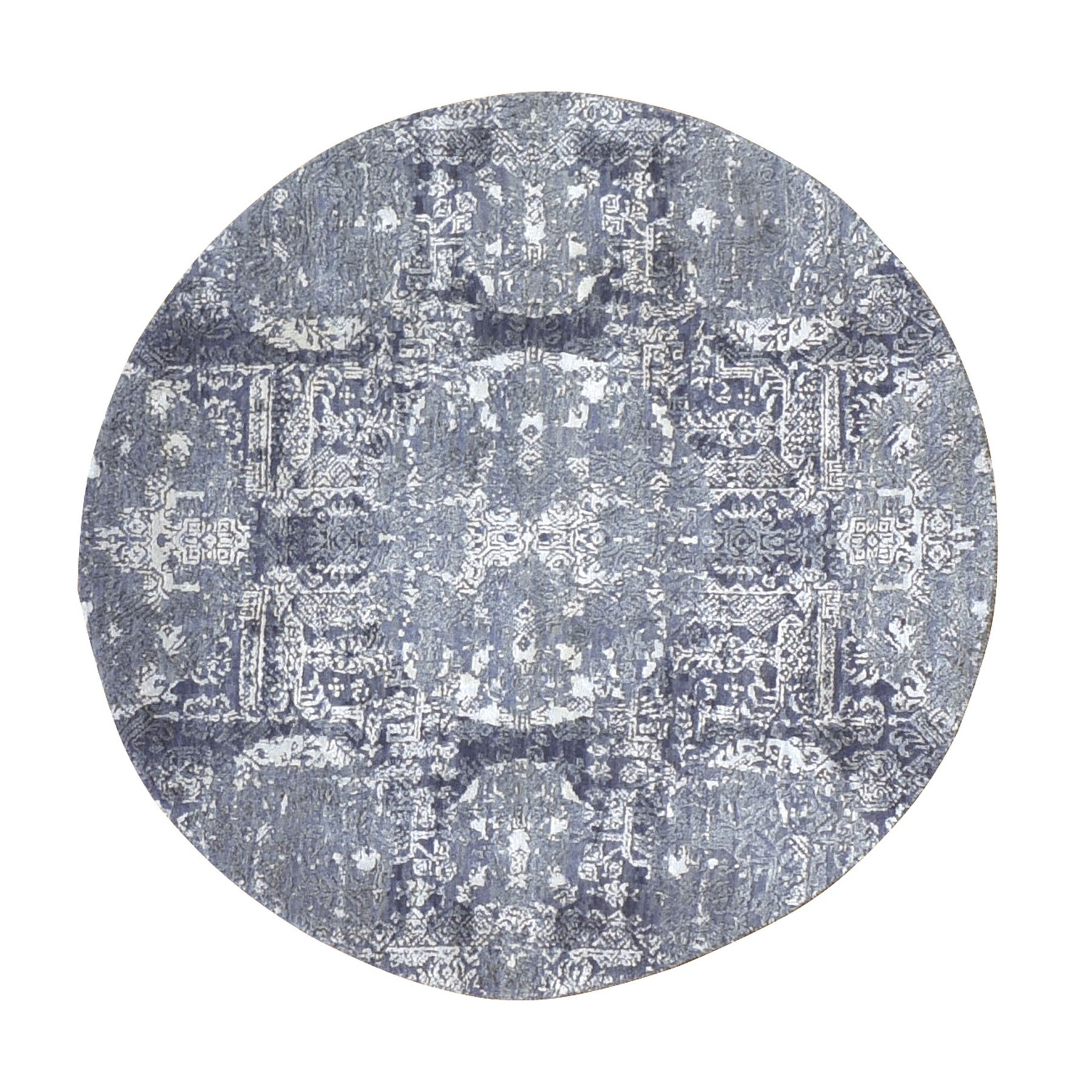 4'x4' Round Gray Wool And Pure Silk Jewellery Design Hand Woven Oriental Rug