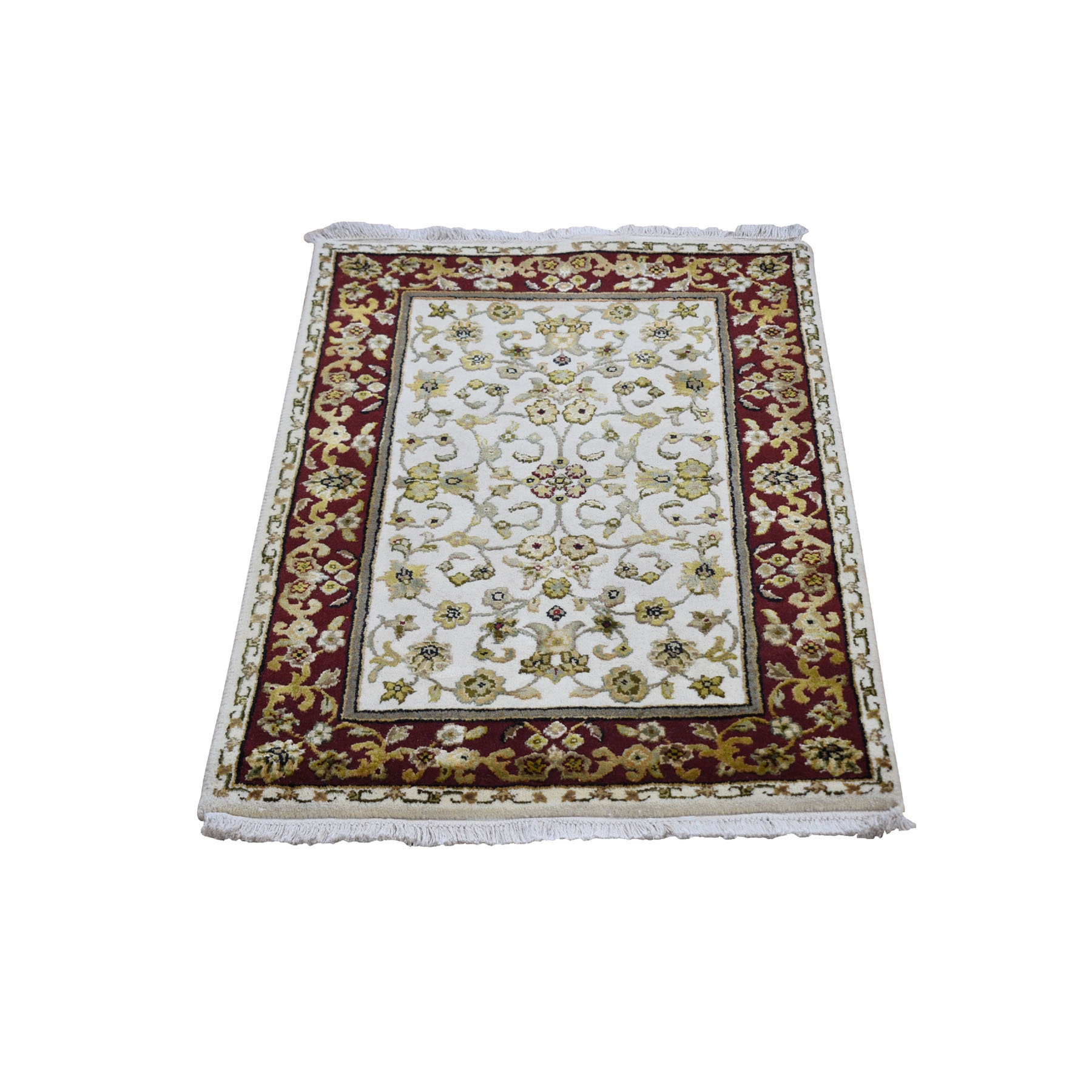 "2'x3'2"" Hand Woven Half Wool And Half Silk Rajasthan Hand Woven Oriental Rug"