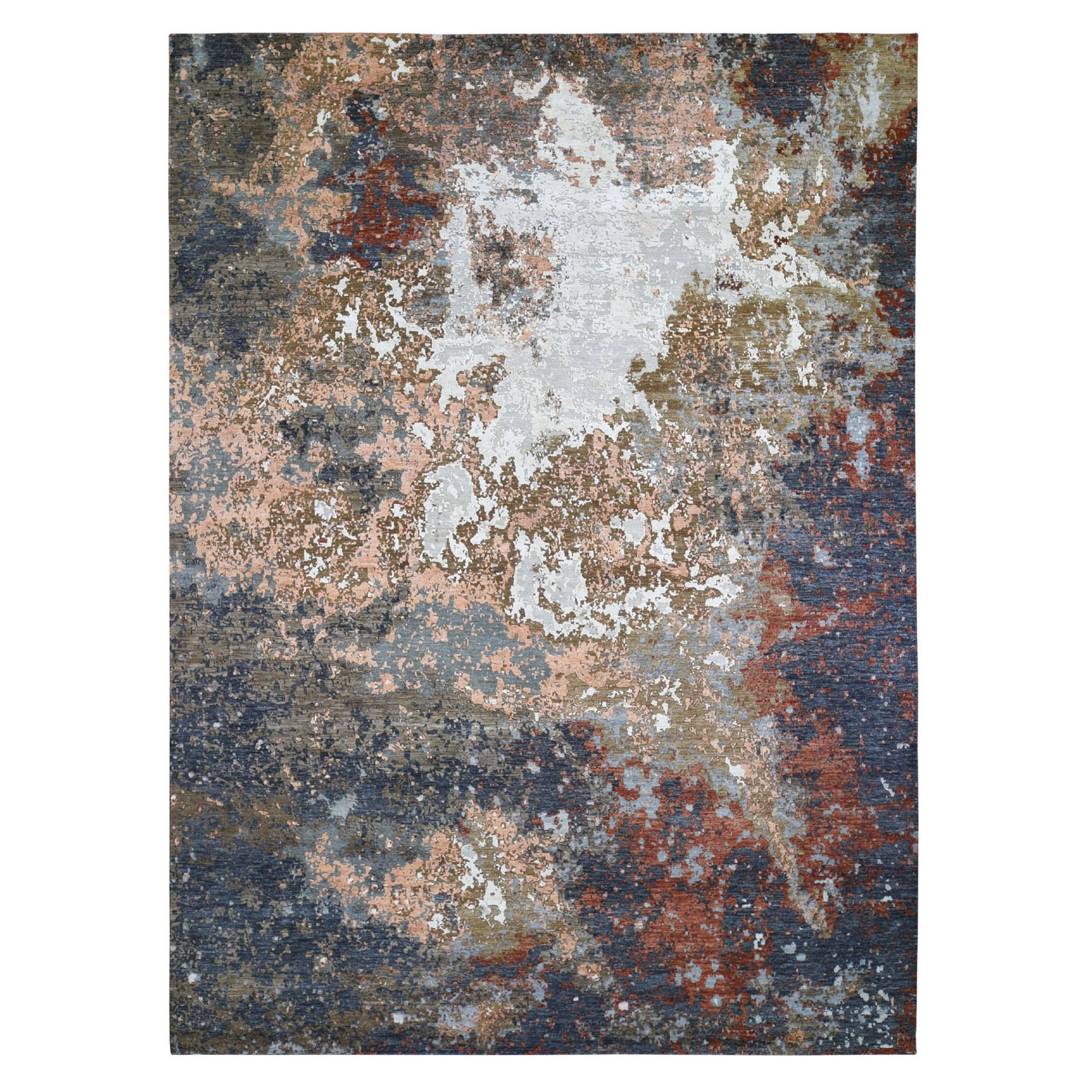 10'x14' Gray Abstract Design Wool And Silk Hi-Low Pile Denser Weave Hand Woven Oriental Rug