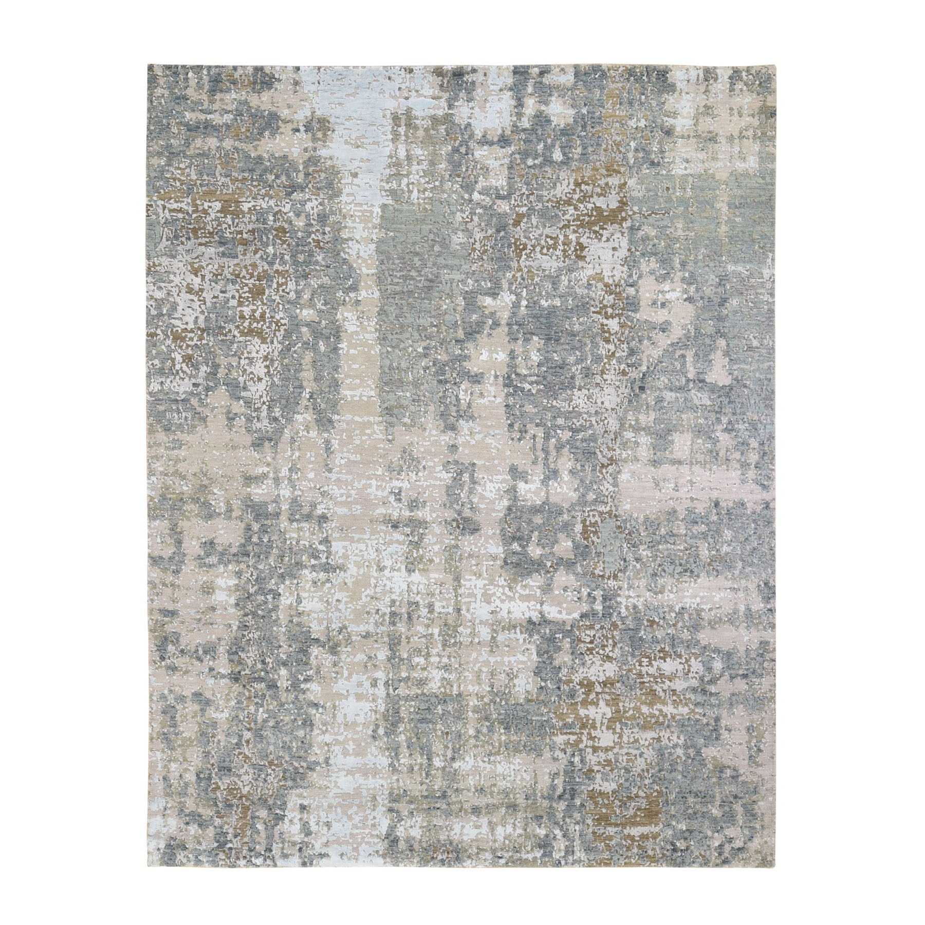 "8'x10'1"" Gray Abstract Design Wool And Silk Hi-Low Pile Denser Weave Hand Woven Oriental Rug"