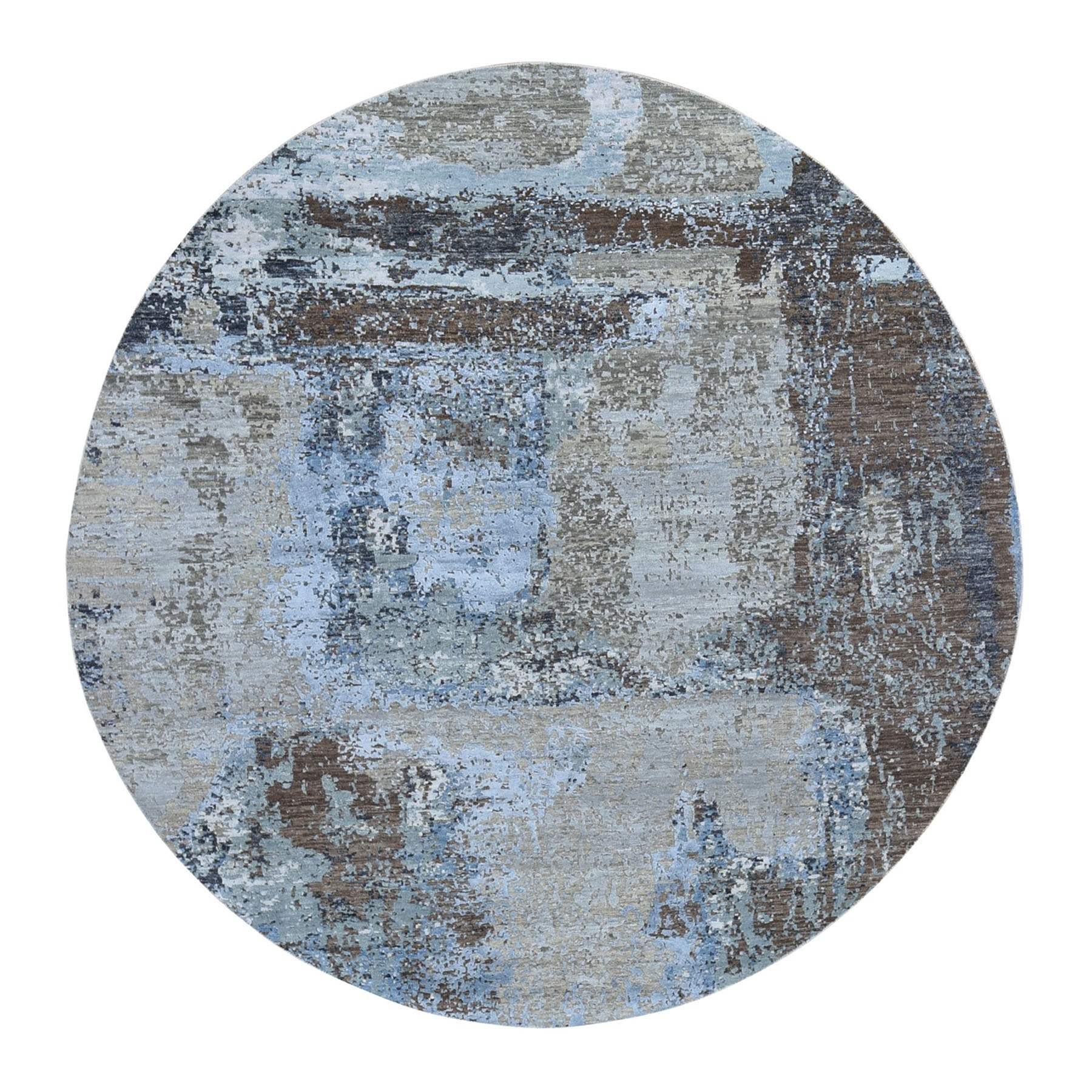8'x8' Taupe Round Abstract Design Wool And Silk Hi-Low Pile Denser Weave Hand Woven Oriental Rug