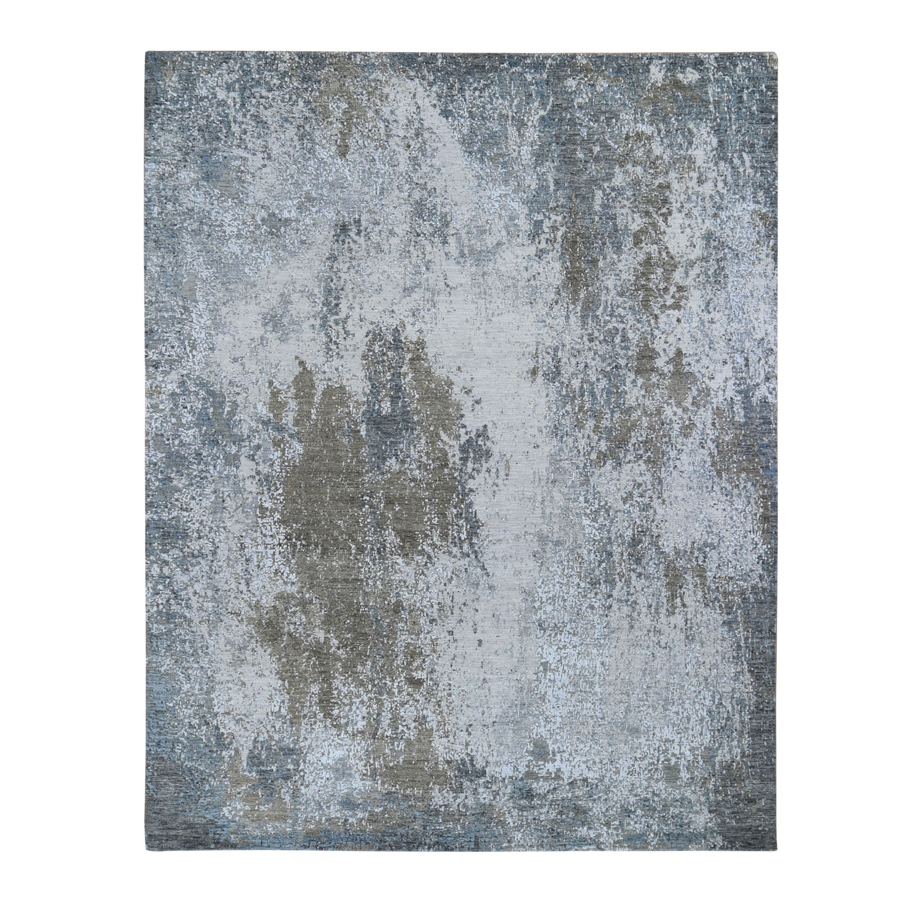 "7'10""x10'  Gray Abstract Design Wool And Silk Hi-Low Pile Denser Weave Hand Woven Oriental Rug"