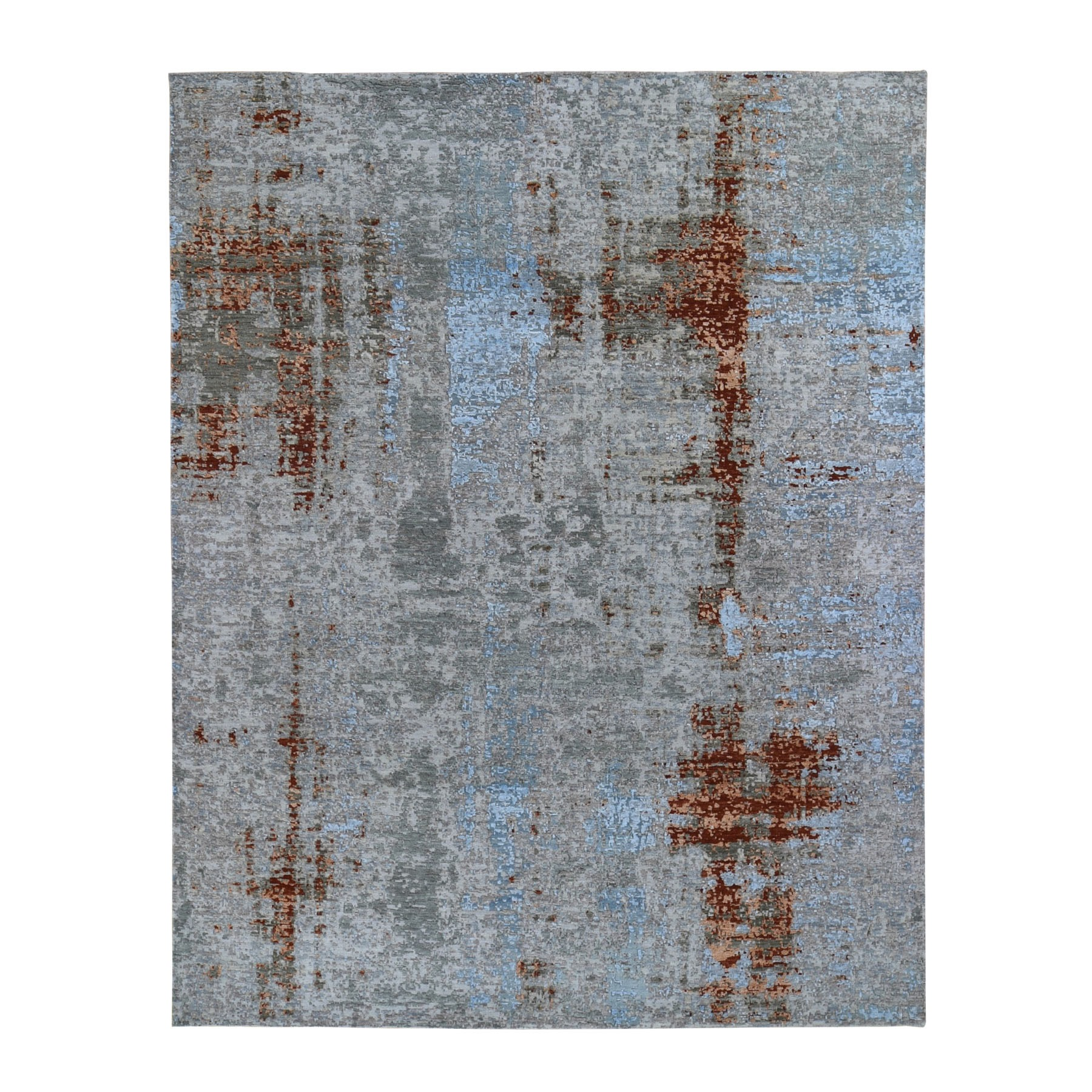 8'x10' Abstract Design Wool And Silk Denser Weave Hand Woven Oriental Rug