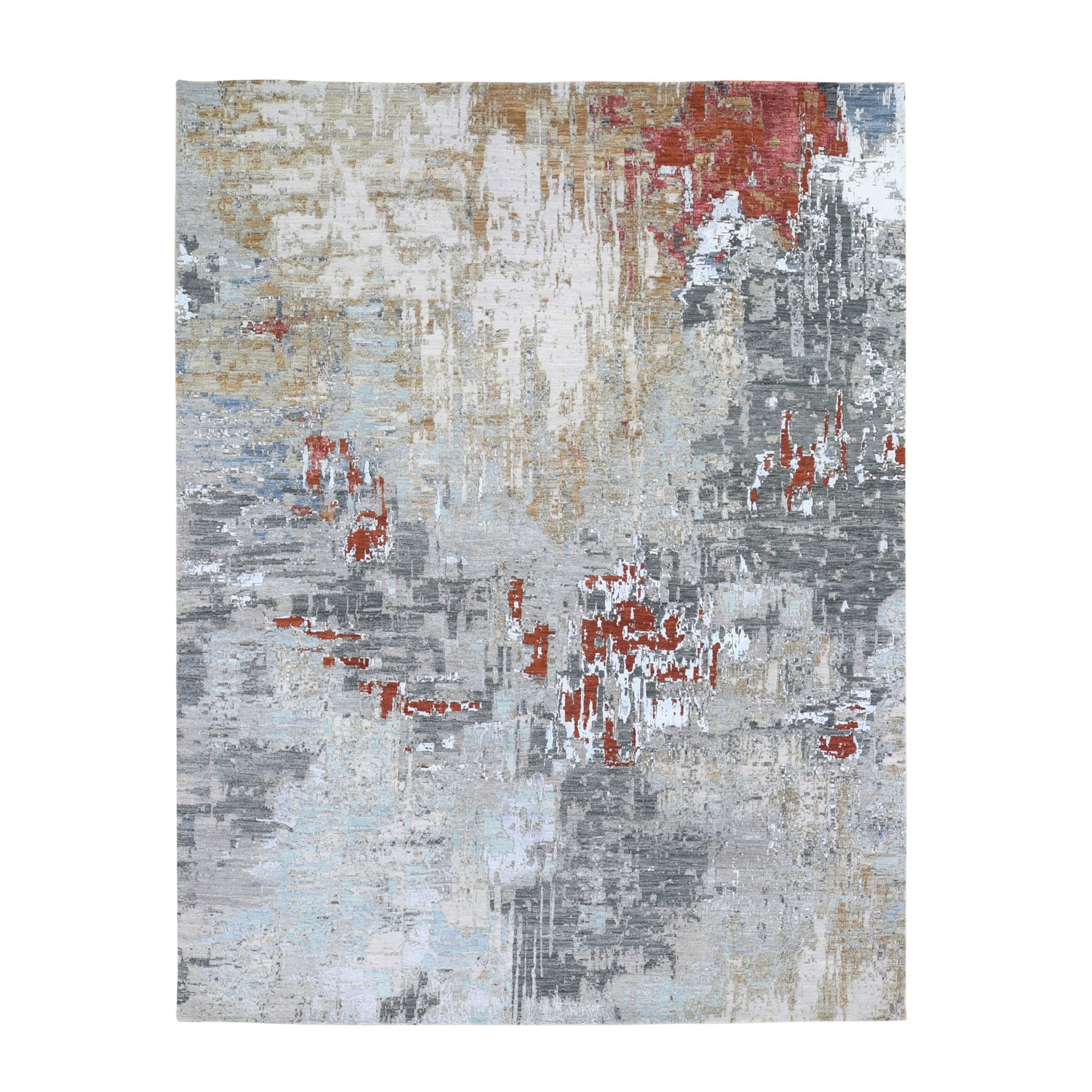 "8'x10'2"" Red Abstract Design Wool And Silk Hi-Low Pile Denser Weave Hand Woven Oriental Rug"