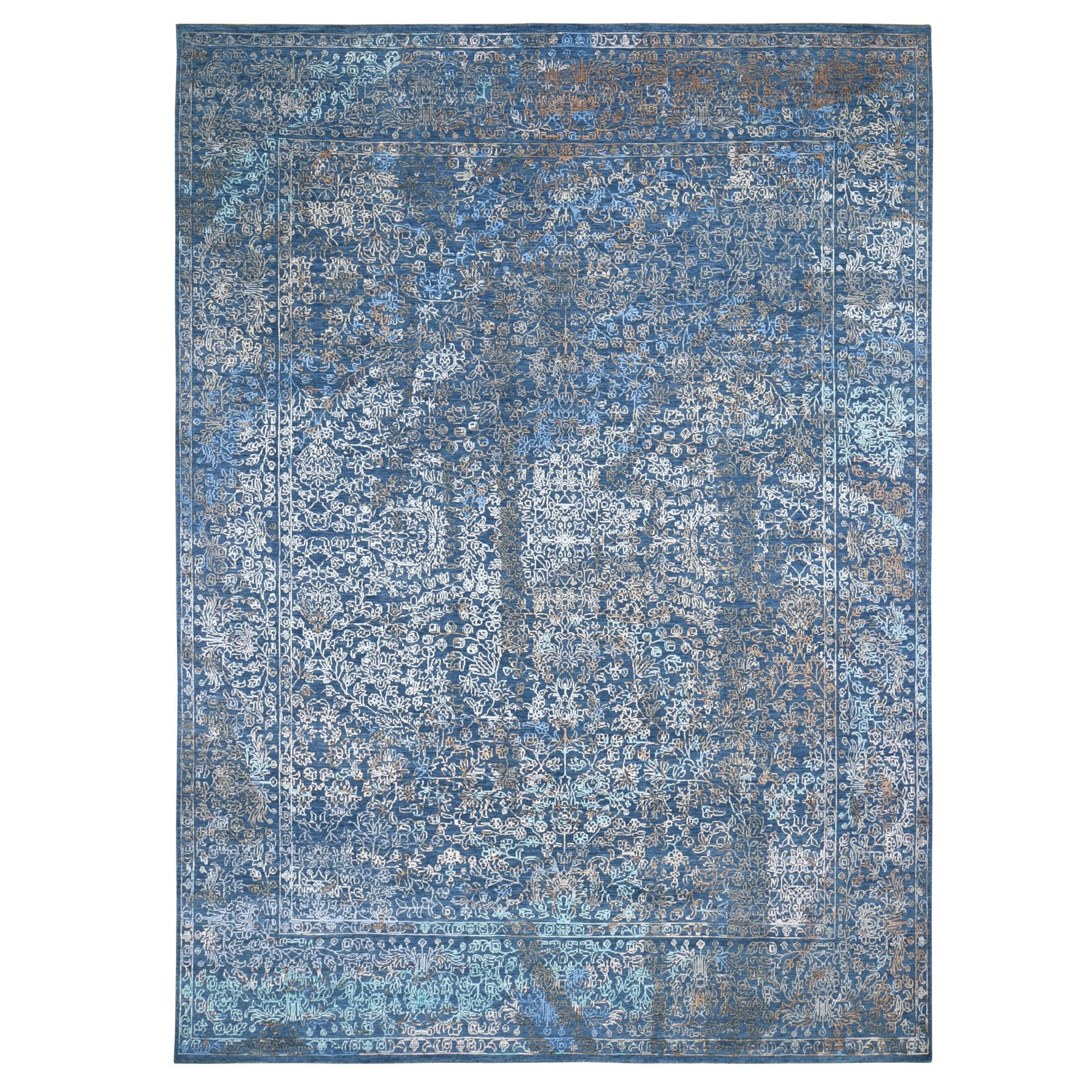 9'x12' Blue Abstract Design Wool And Silk Hand Woven Oriental Rug