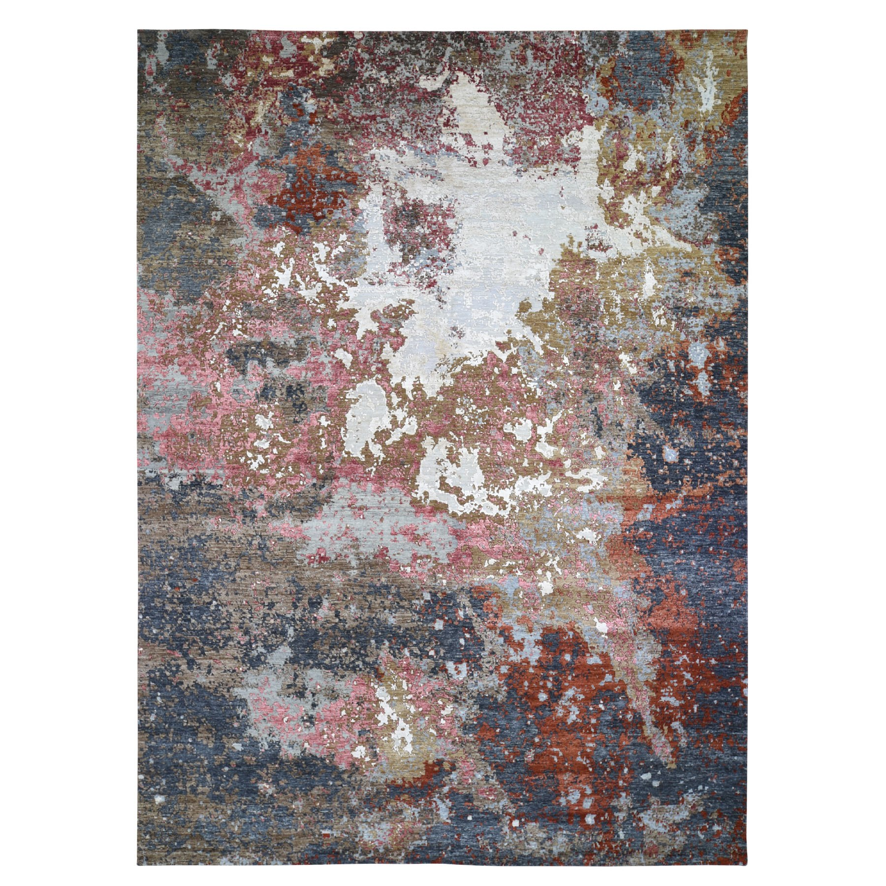 "10'x14'2"" Pink Abstract Design Wool And Silk Hi-Low Pile Denser Weave Hand Woven Oriental Rug"