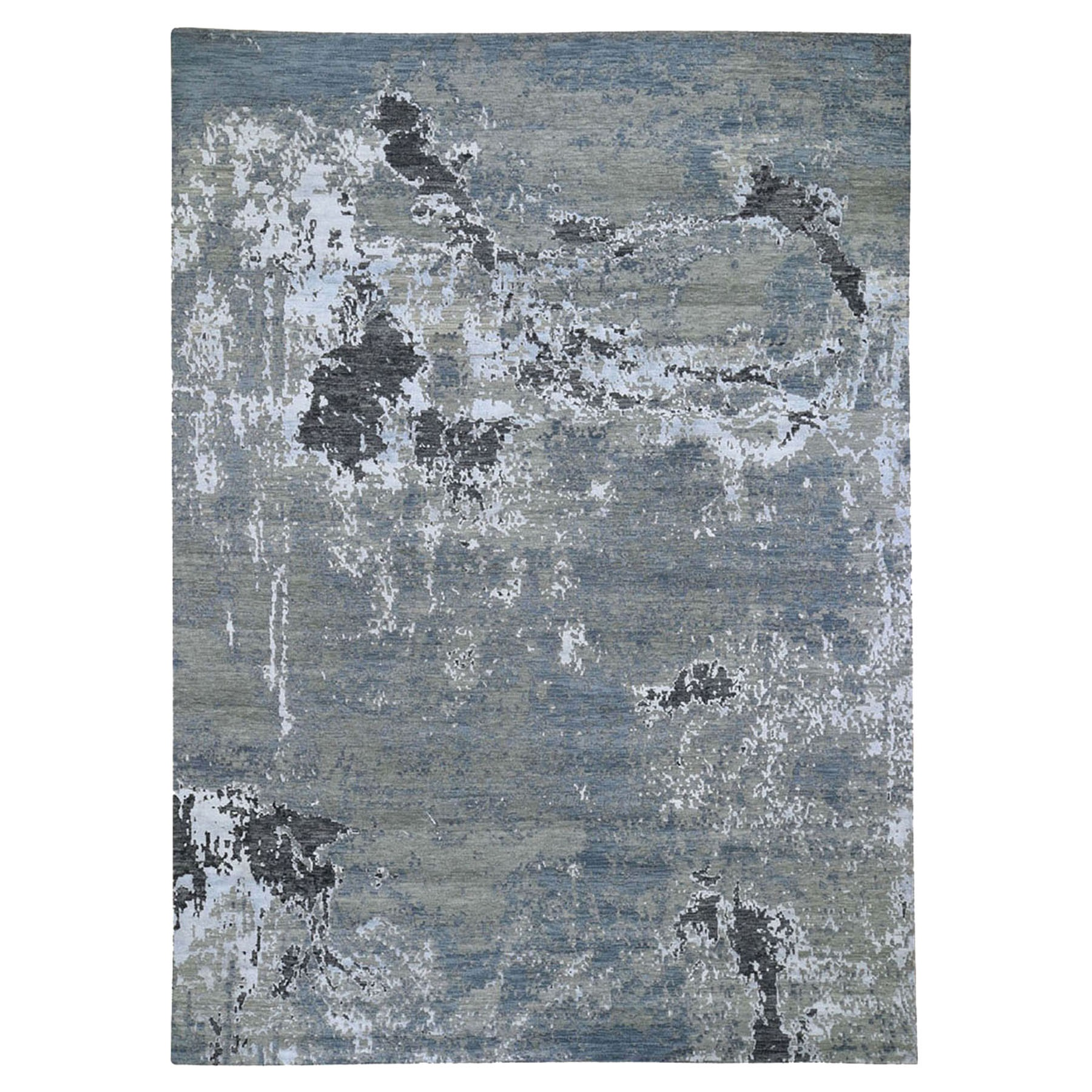 "9'x12'3"" Gray Hi-Low Pile Abstract Design Wool And Silk Hand Woven Oriental Rug"