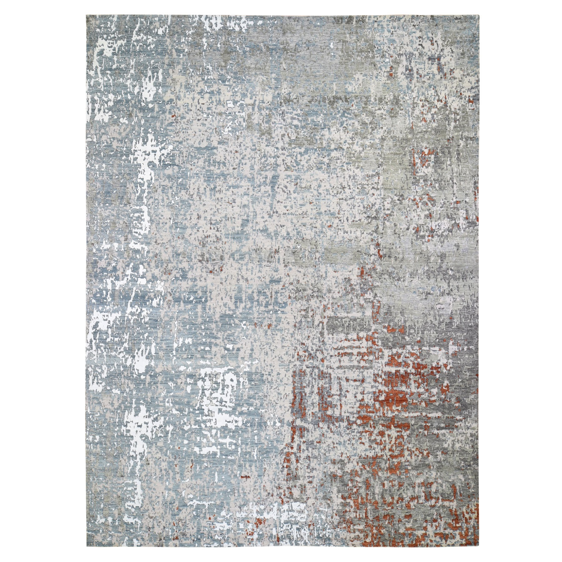 "10'x14'4"" Terracotta Abstract Design Wool And Silk Hi-Low Pile Denser Weave Hand Woven Oriental Rug"