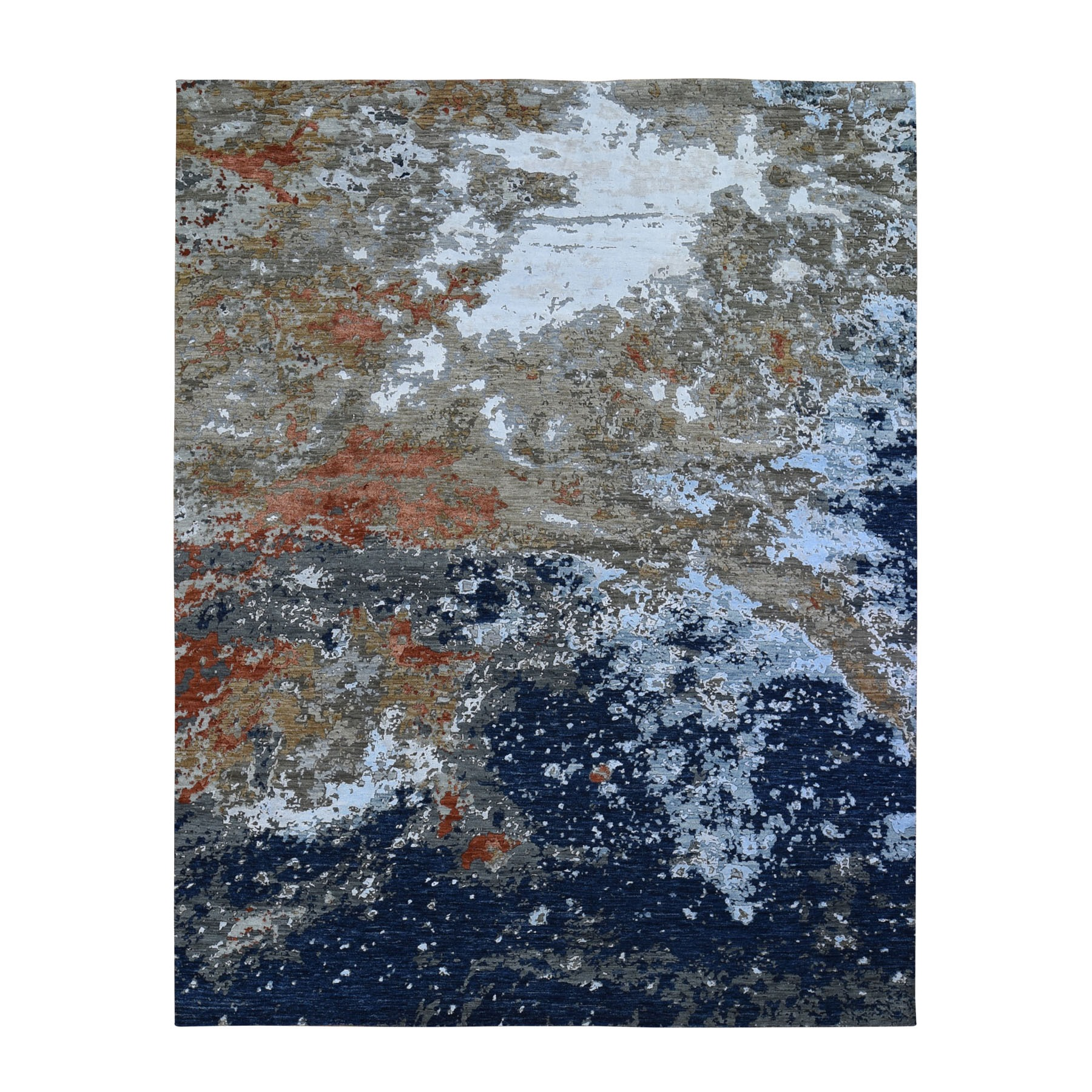 "8'1""x10'2"" Blue Abstract Design Wool And Silk Hi-Low Pile Denser Weave Hand Woven Oriental Rug"