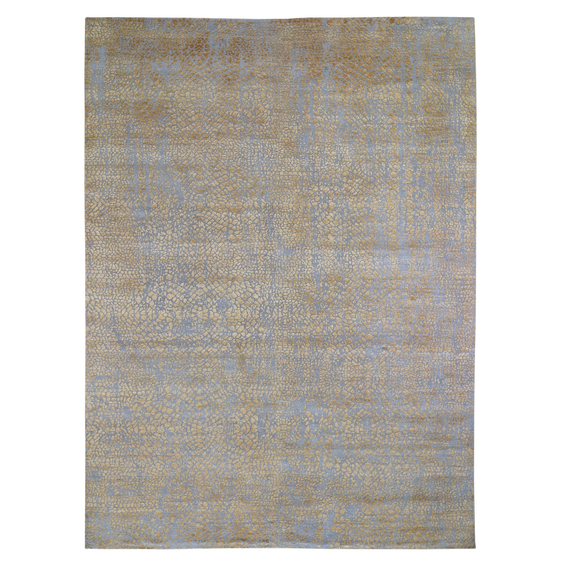 "8'10""x12'1"" Gold Tone On Tone THE DOTS Wool And Silk Hand Woven Oriental Rug"