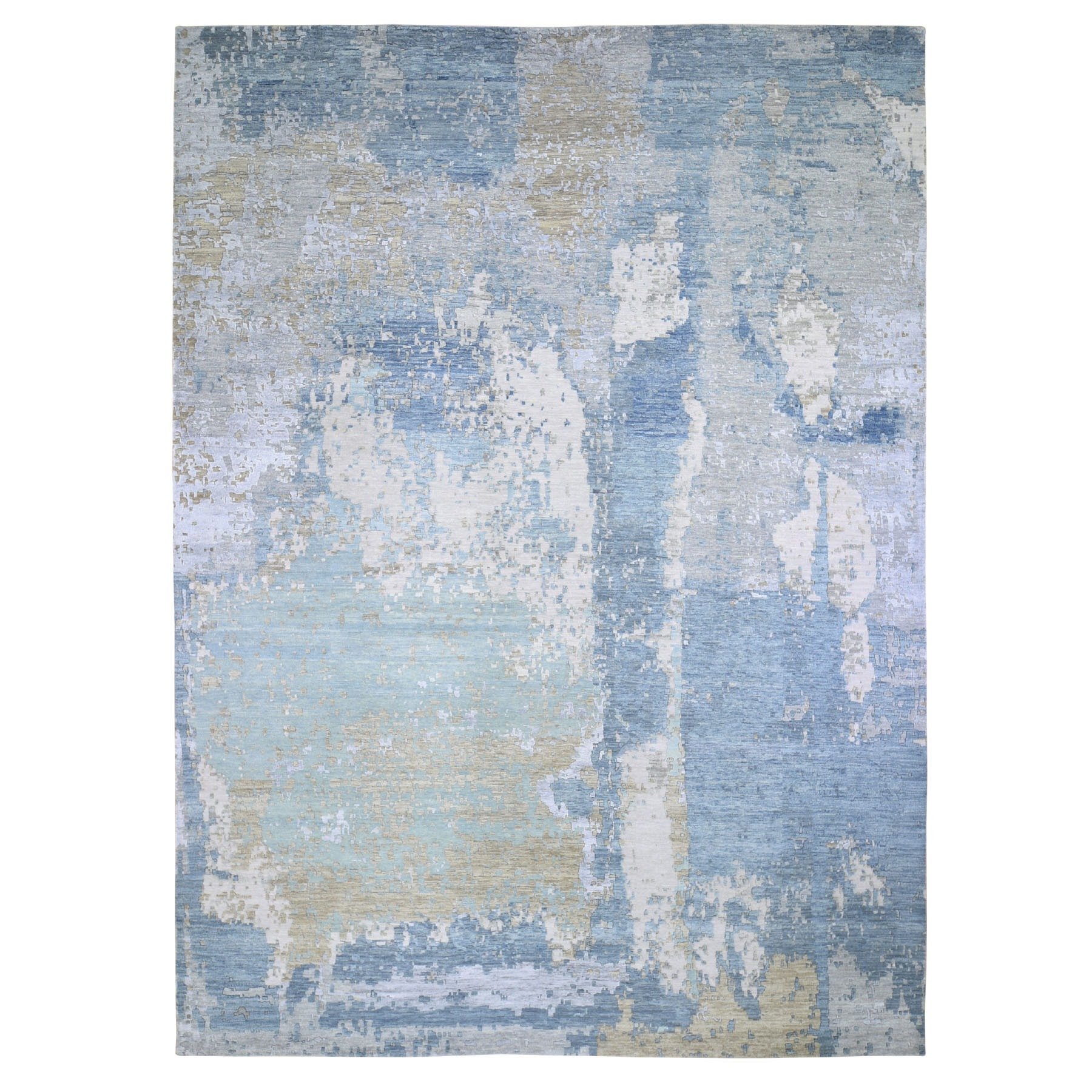 "10'x14'2"" Blue Abstract Design Wool And Silk Denser Weave Hand Woven Modern Rug"