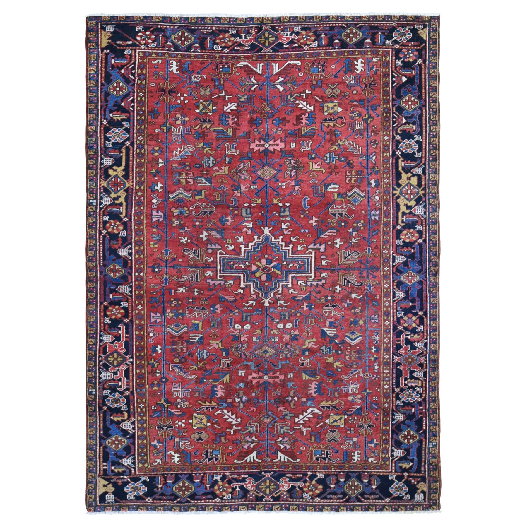 "7'9""x10'9"" Red Antique Persian Heriz Even Wear Clean Pure Wool Hand Woven Oriental Rug"