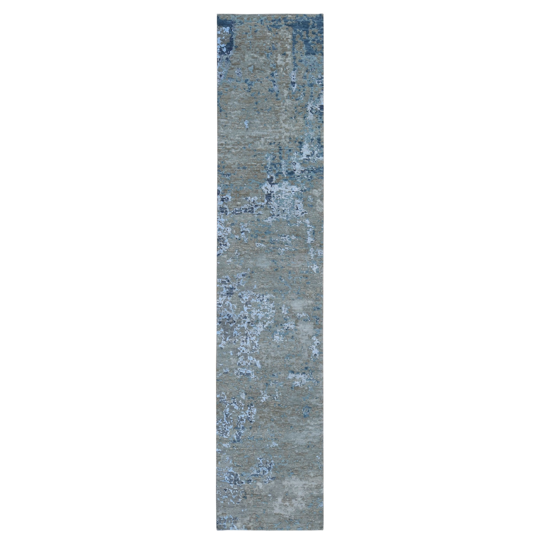 "2'6""x12'1"" Abstract Design Wool And Silk Hi-Low Pile Denser Weave Runner Hand Woven Oriental Rug"